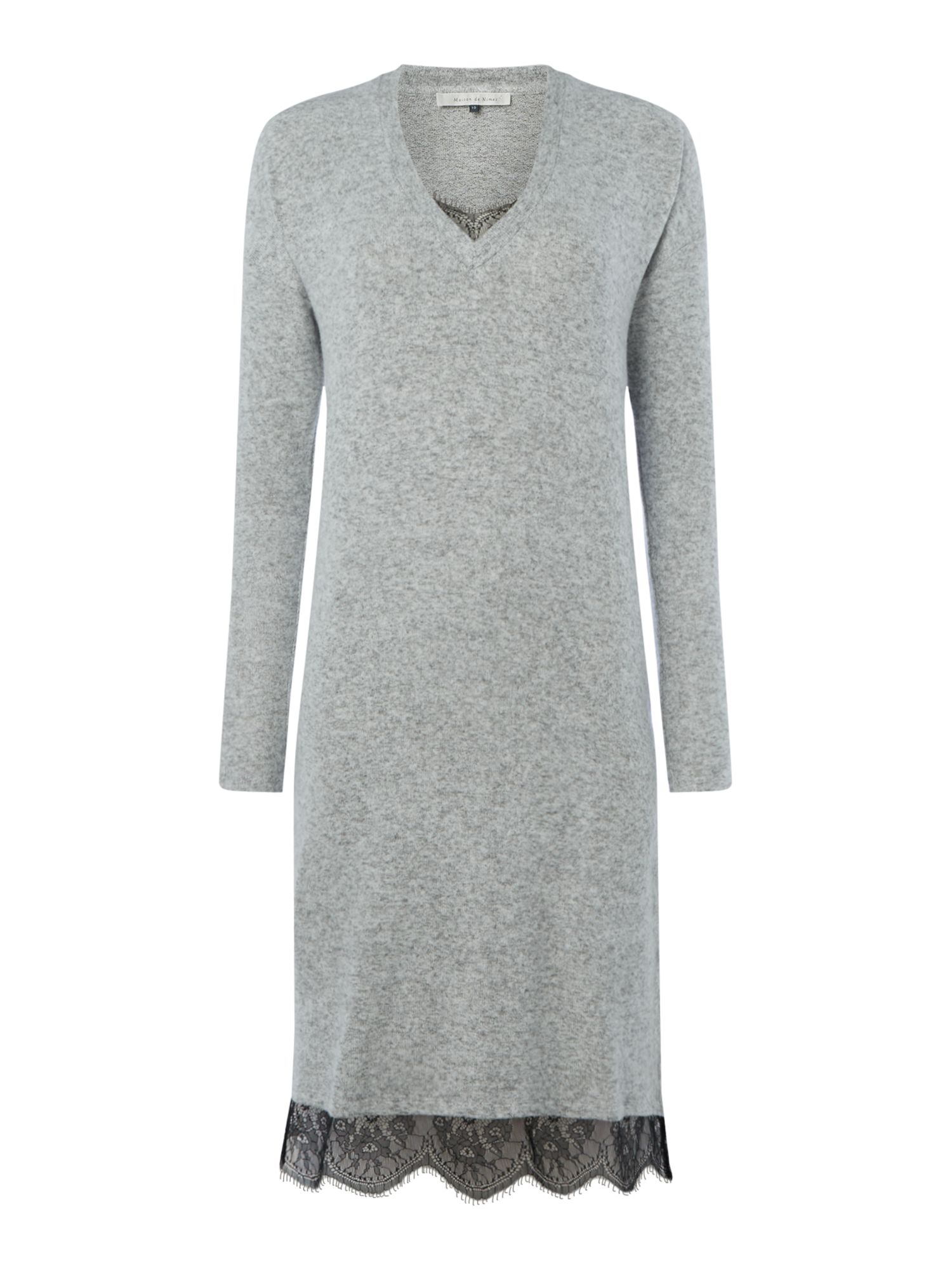 Maison De Nimes V Neck Lace Tunic, Grey Marl