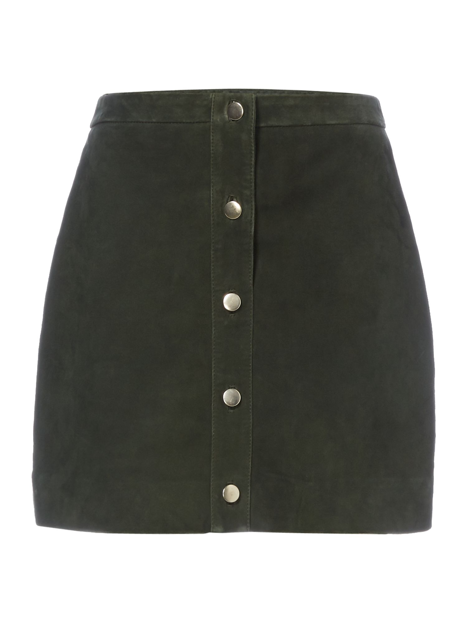 Twist and Tango Wanda button suede skirt, Forest