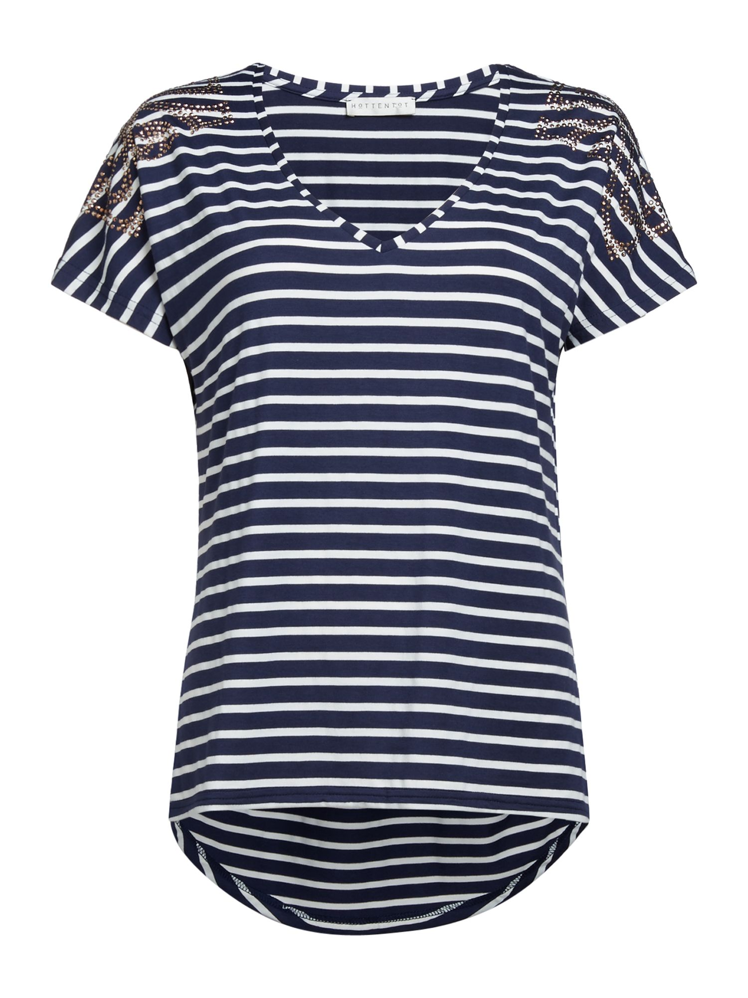 Biba Striped studded shoulder t-shirt, Multi-Coloured