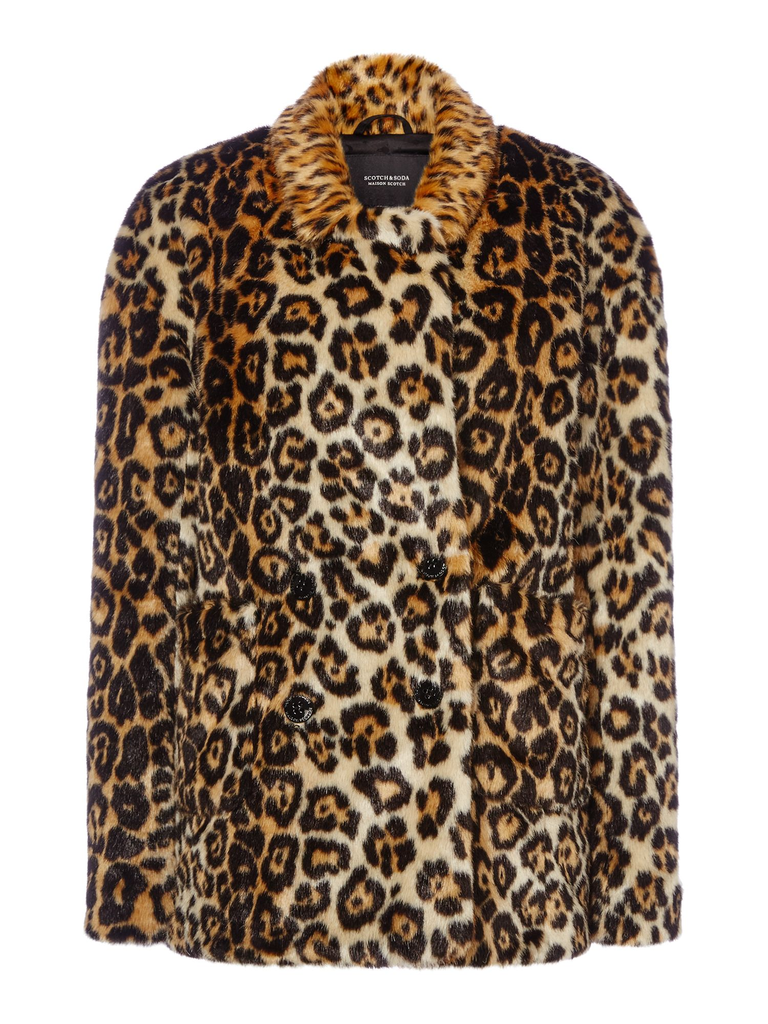 Maison Scotch Leopard Faux Fur Coat, Leopard