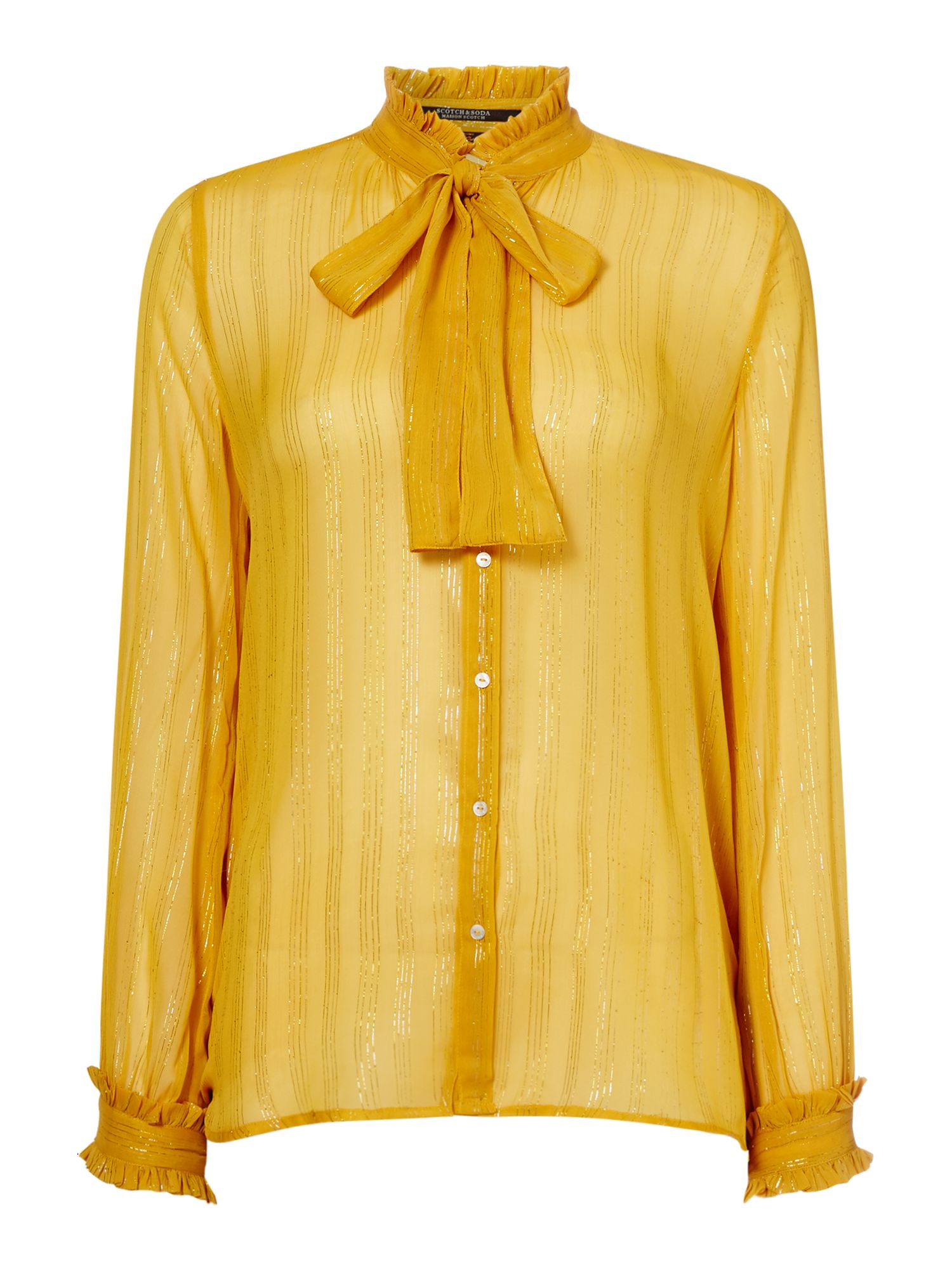 Maison Scotch Ruffle Blouse With Tie Neck Detail, Yellow