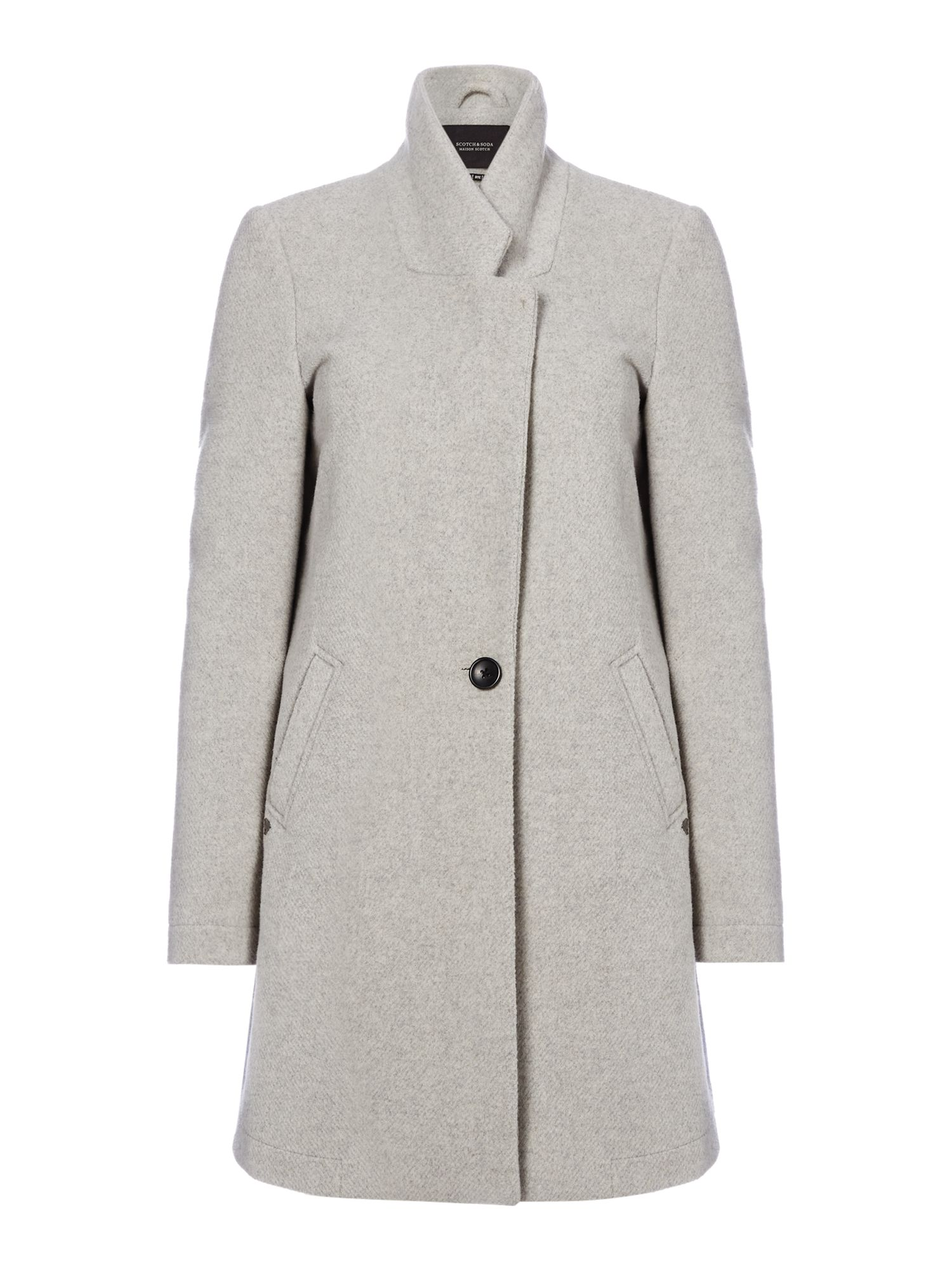 Maison Scotch Bonded Wool Coat, Grey