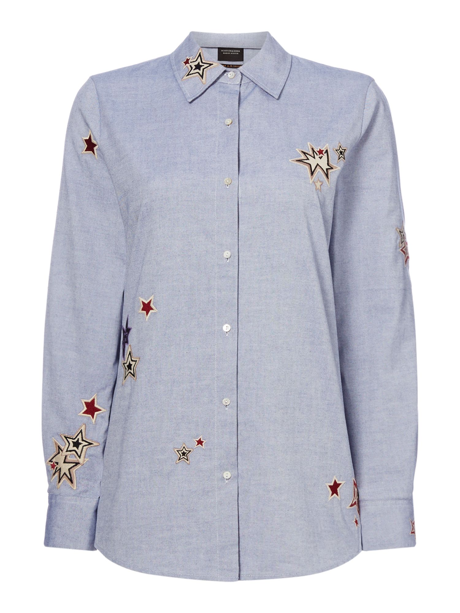 Maison Scotch star embroidery shirt, Light Blue