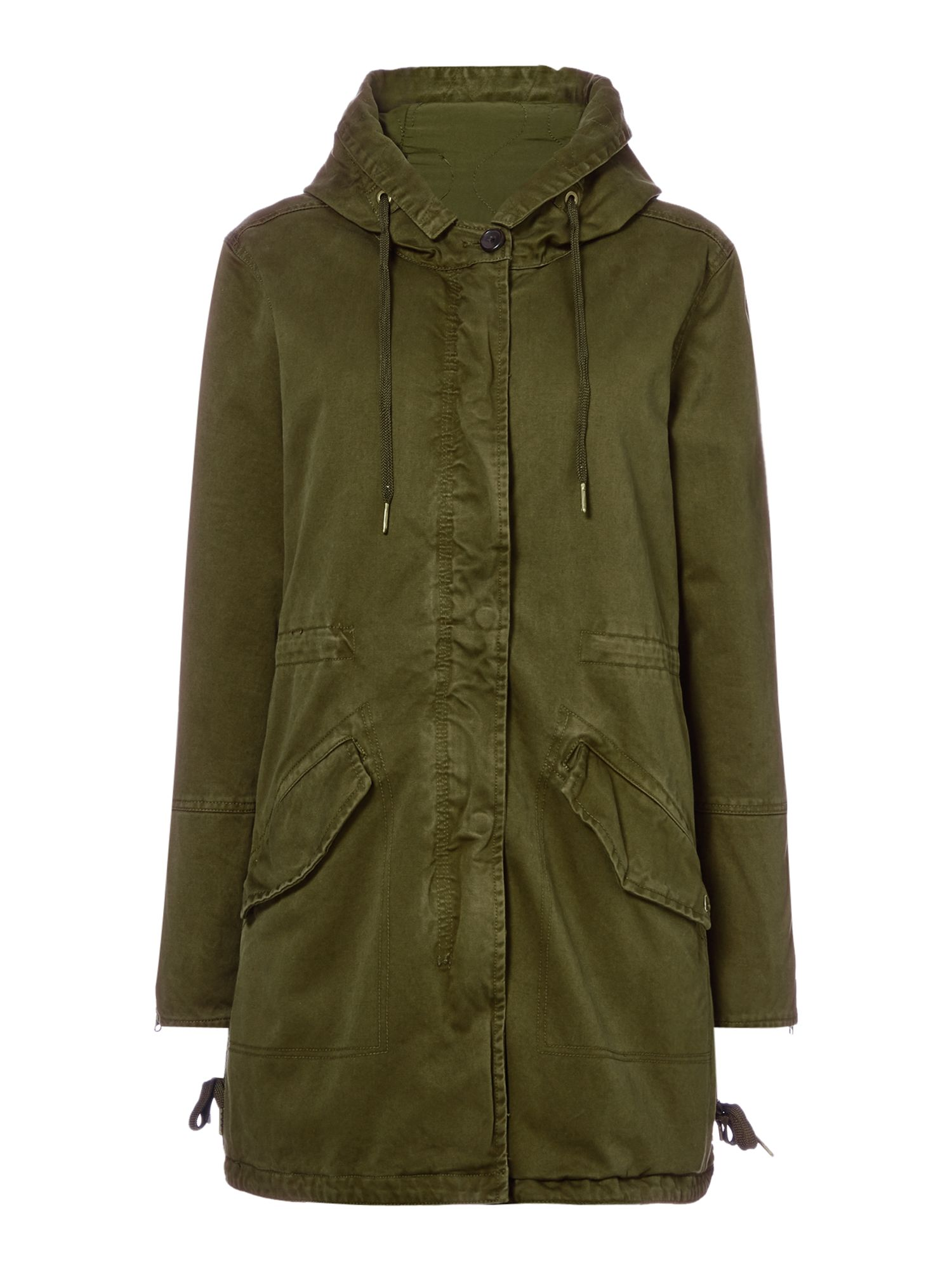 Maison Scotch Khaki parka with zip out lining, Khaki