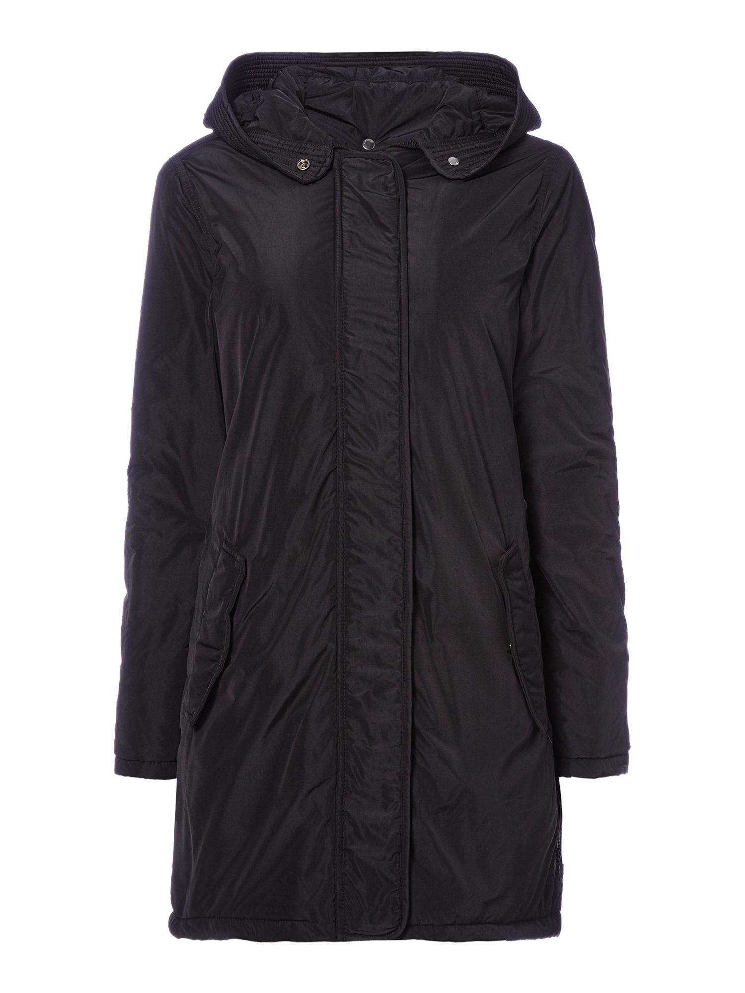 Maison Scotch Black parka coat, Black