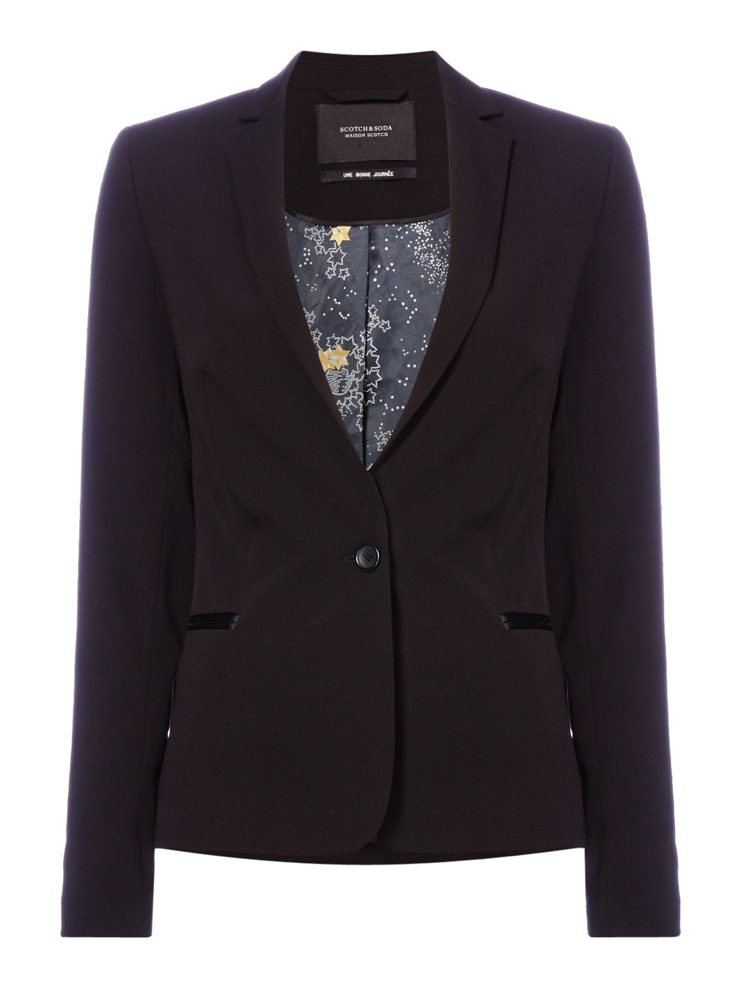 Maison Scotch Classic blazer with star lining, Multi-Coloured
