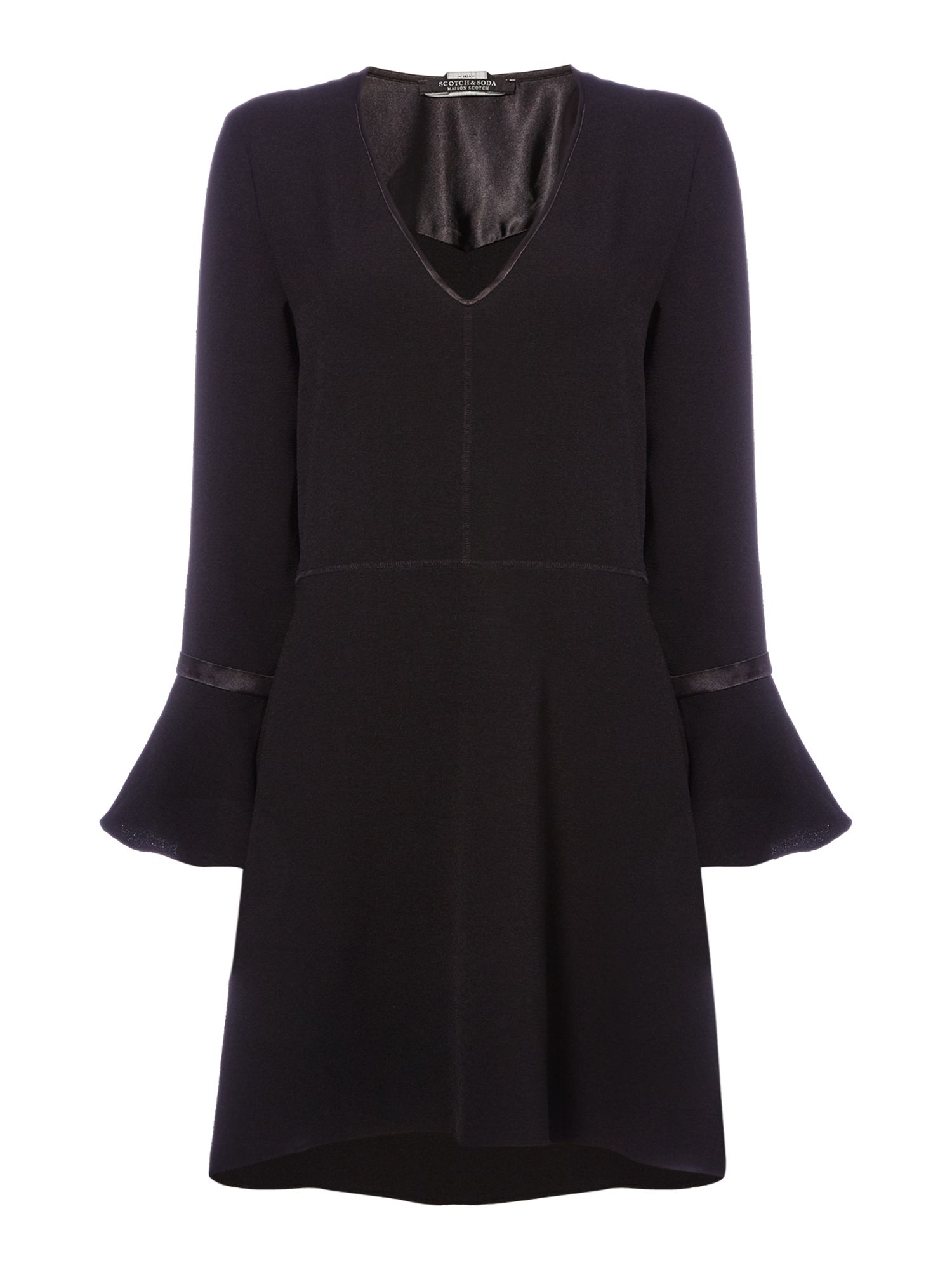 Maison Scotch V neck dress with flared sleeves, Black