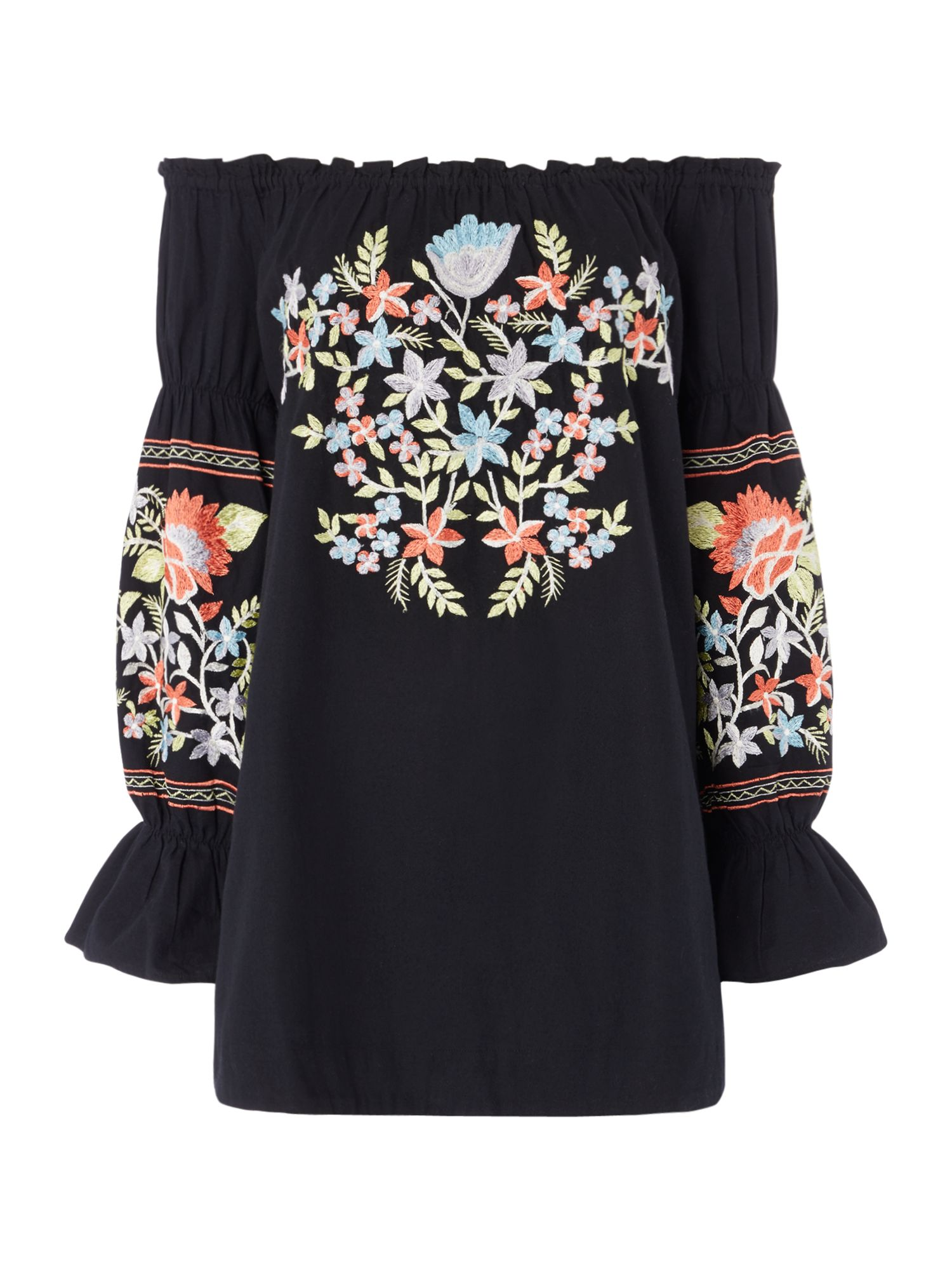Free People Fleur De Jour Bardot Dress With Embroidery, Black