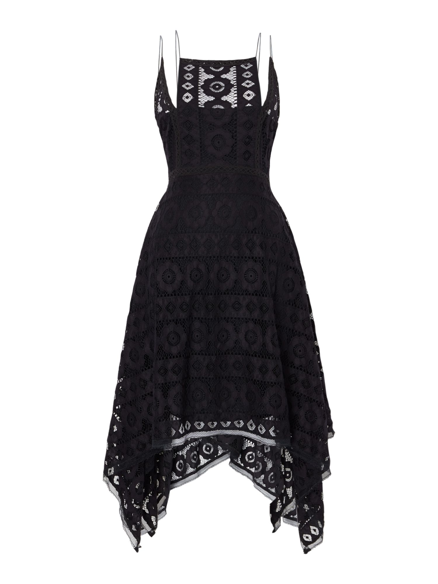 Free People Just Like Honey Lace Dress With Hankerchief Hem, Black