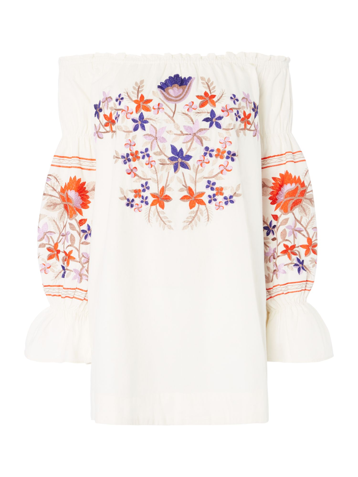 Free People Fleur De Jour Bardot Dress With Embroidery, Cream