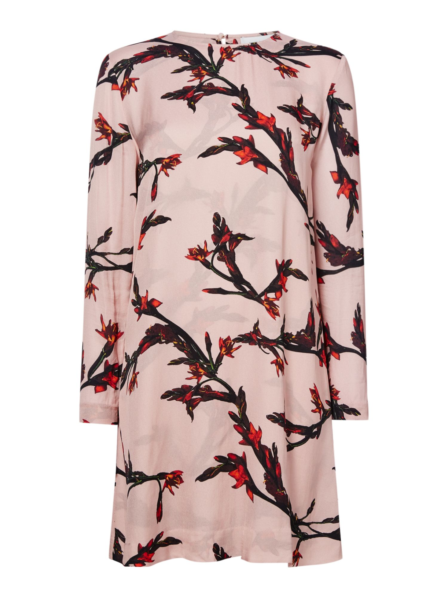 Samsoe and Samsoe Floral printed round neck shift dress, Rose