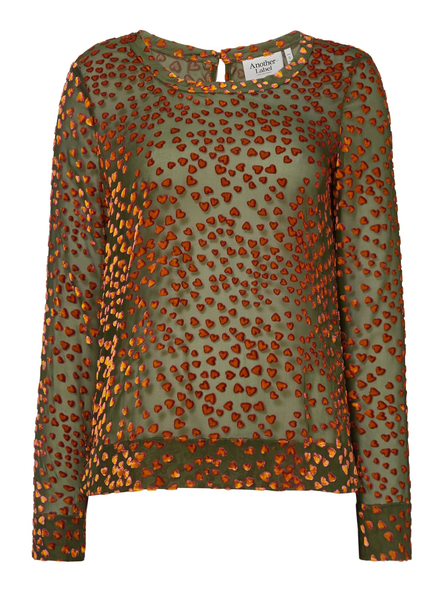 Another Label Eger devore long sleeve top, Green
