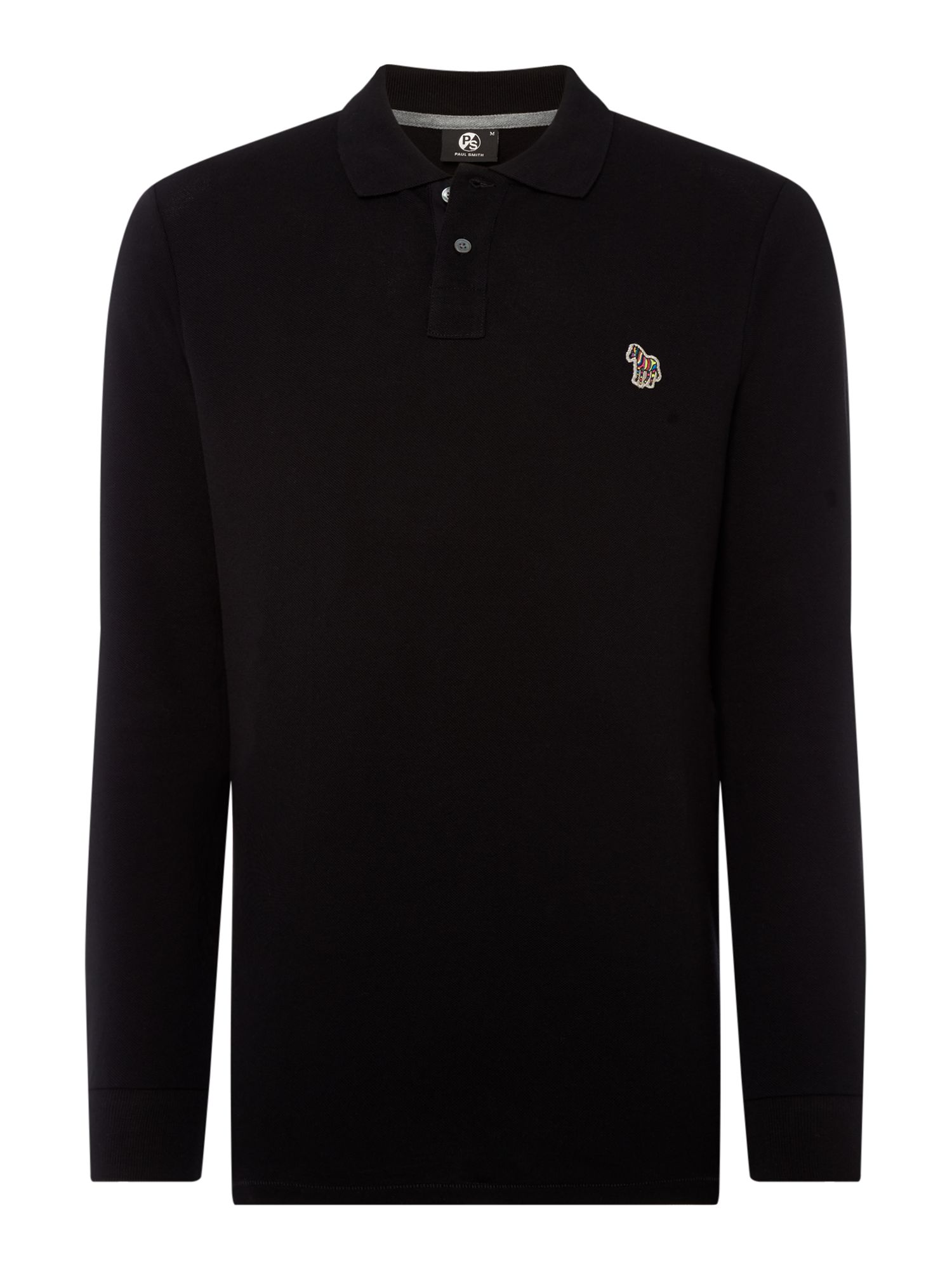 Men's PS By Paul Smith Regular fit zebra logo long-sleeve polo shirt, Black