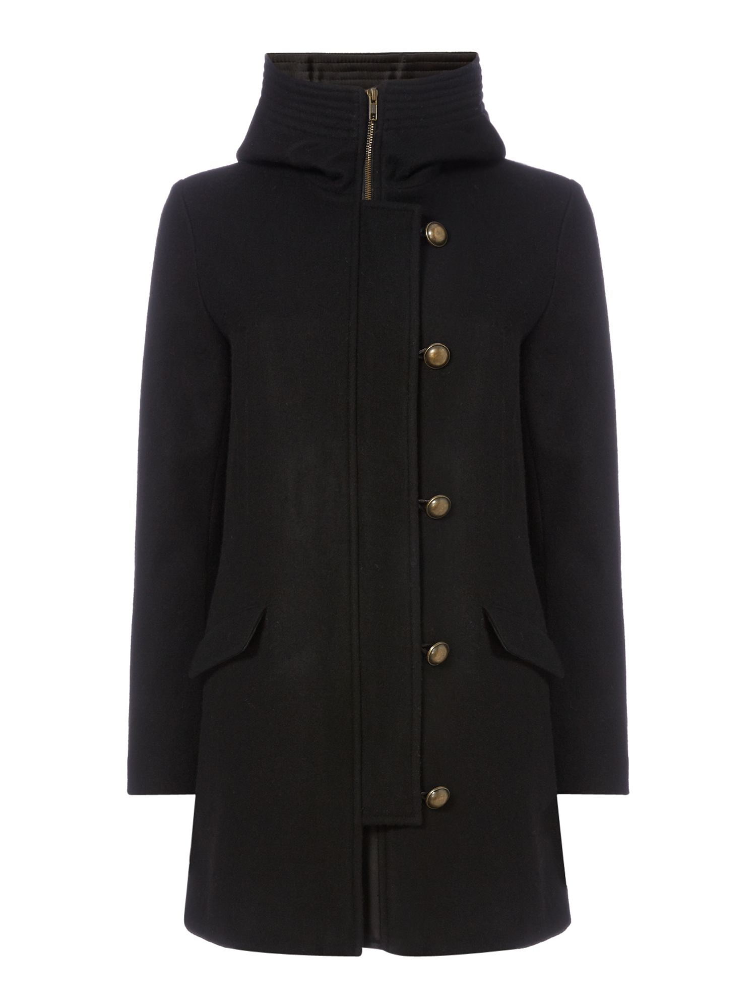 Sessun Hooded Wool Coat with Button Front, Black
