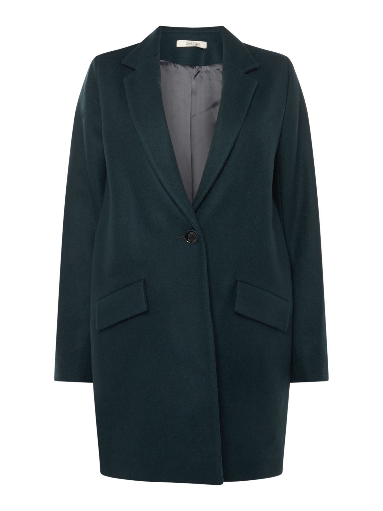 Sessun Collared wool over coat, Teal