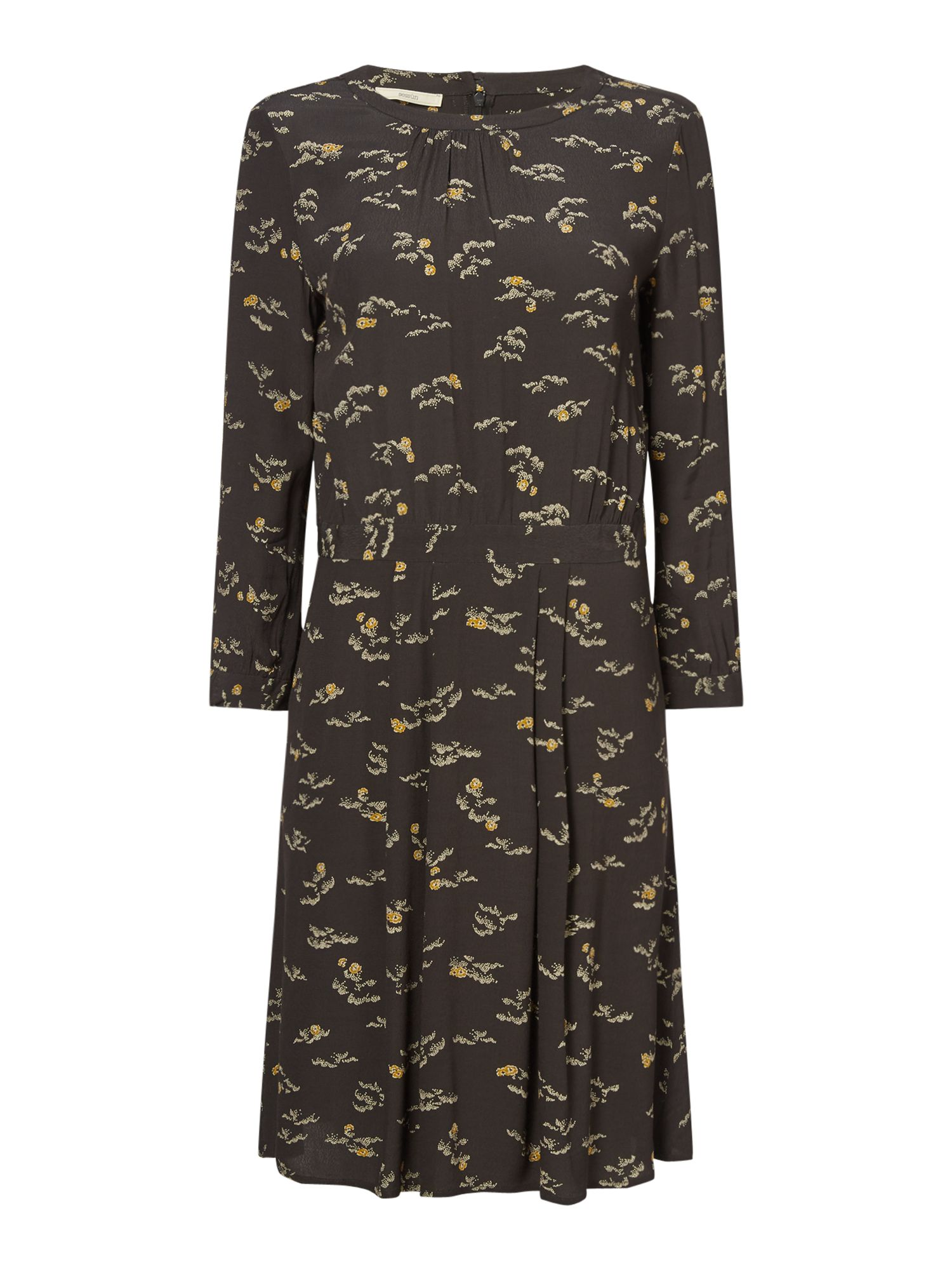 Sessun Floral printed dress with 3/4 sleeves, Khaki