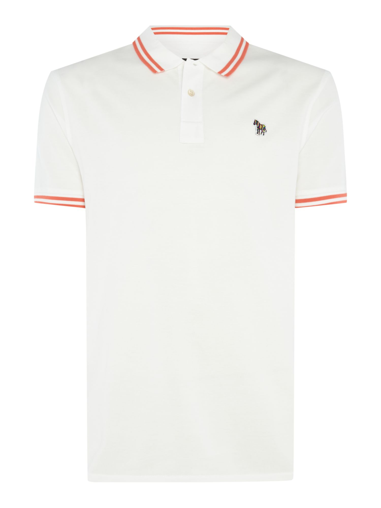 Men's PS By Paul Smith Short Sleeve Tipped Zebra Logo Polo, White