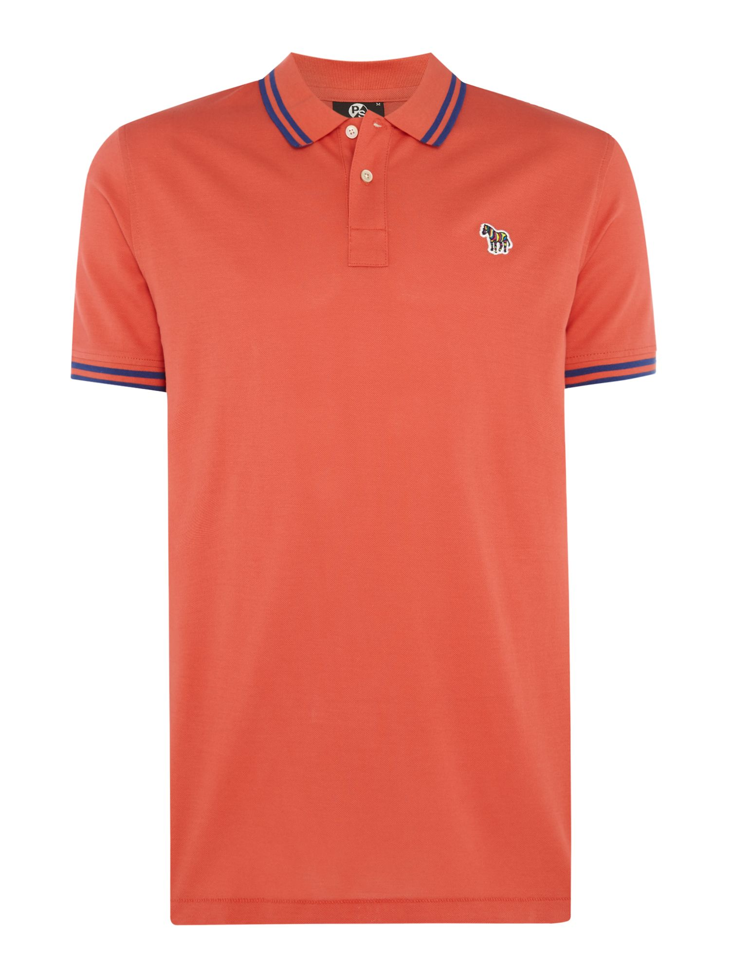 Men's PS By Paul Smith Short Sleeve Tipped Zebra Logo Polo, Orange
