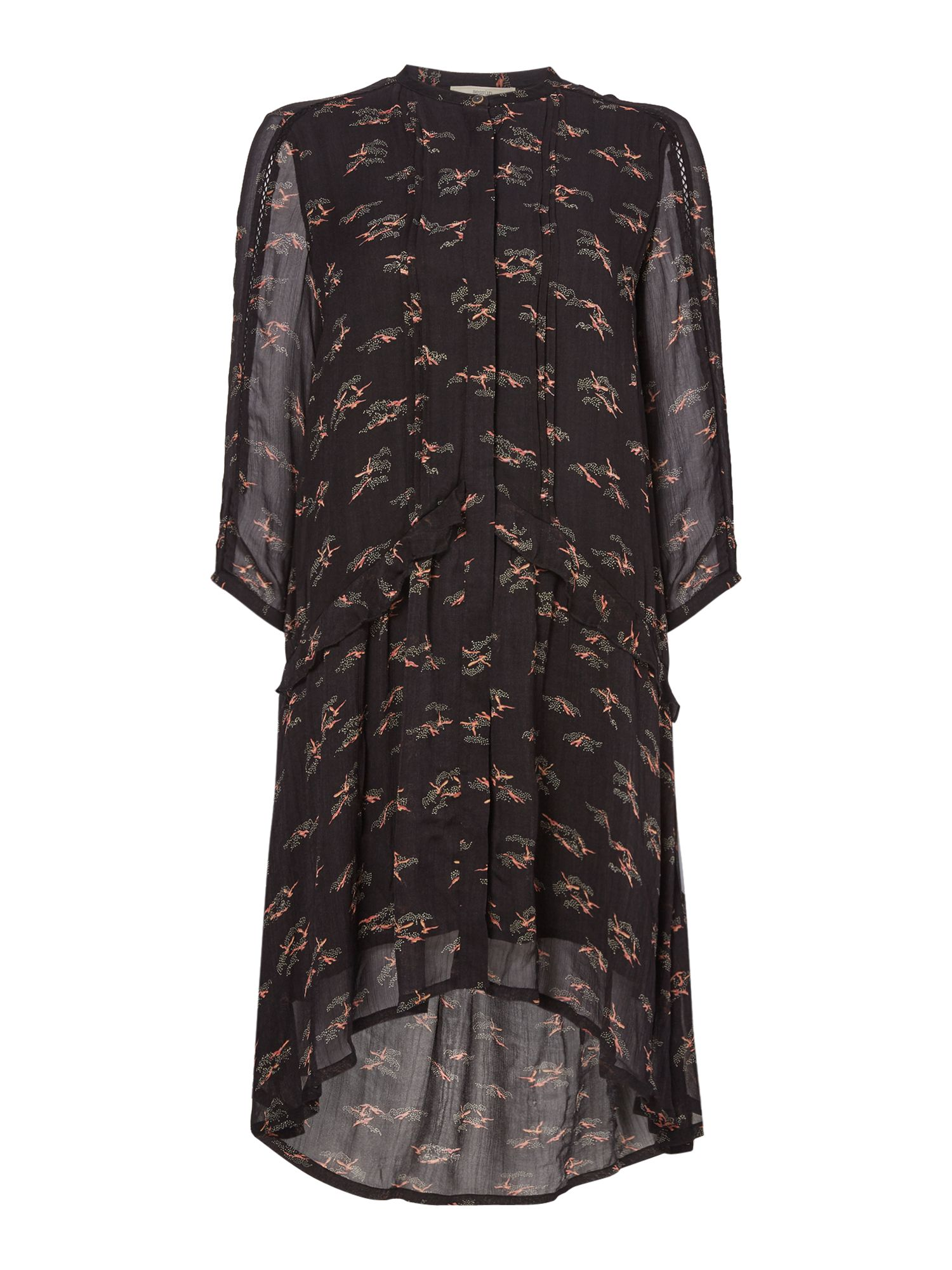 Sessun Floral printed shirt dress, Black