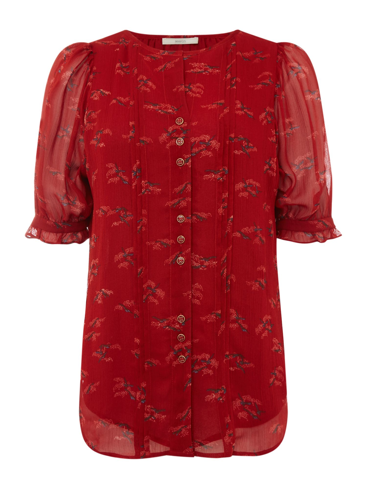 Sessun Floral printed button front blouse, Red