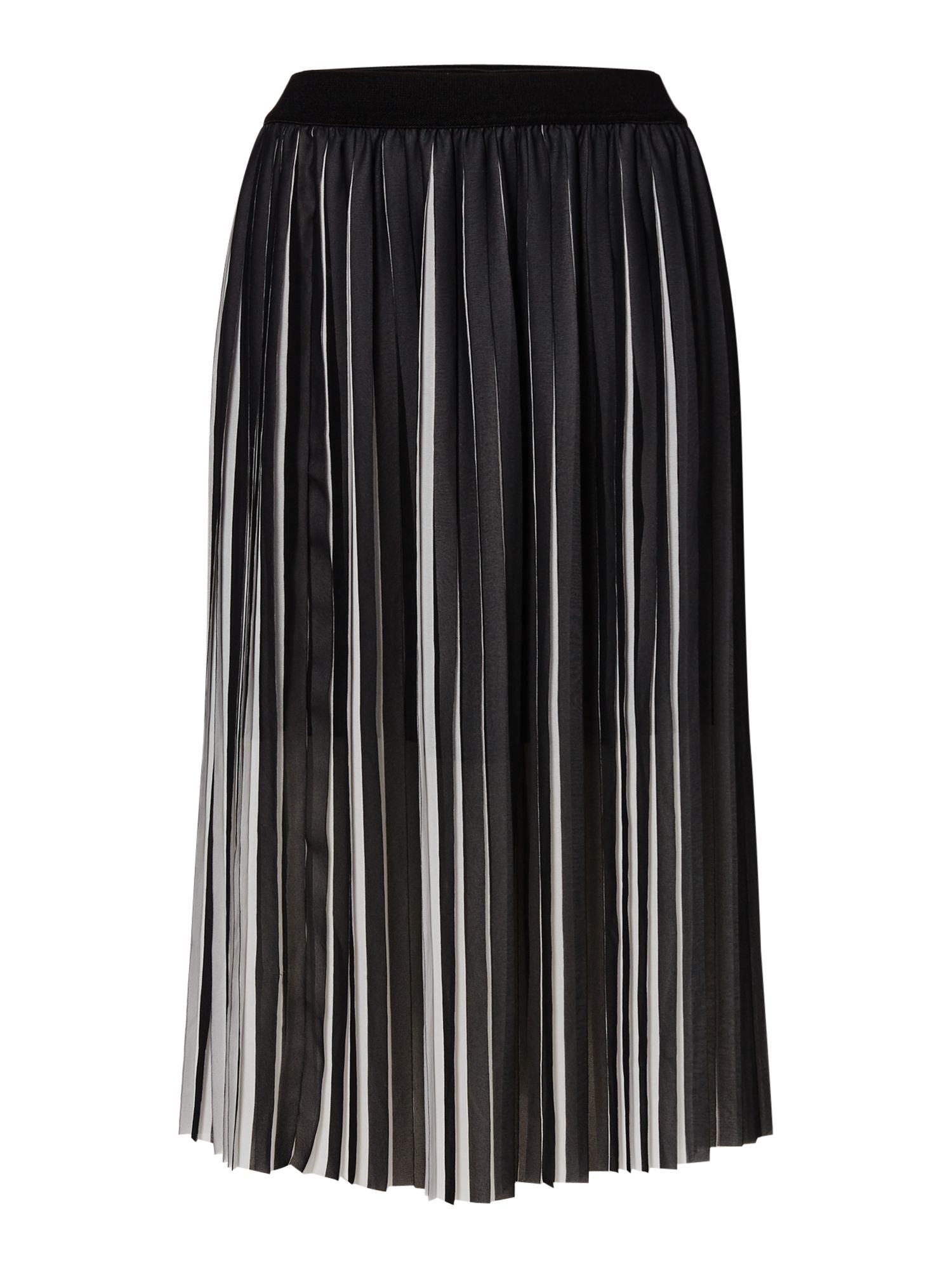 Samsoe and Samsoe Black and white pleated midi skirt, Black