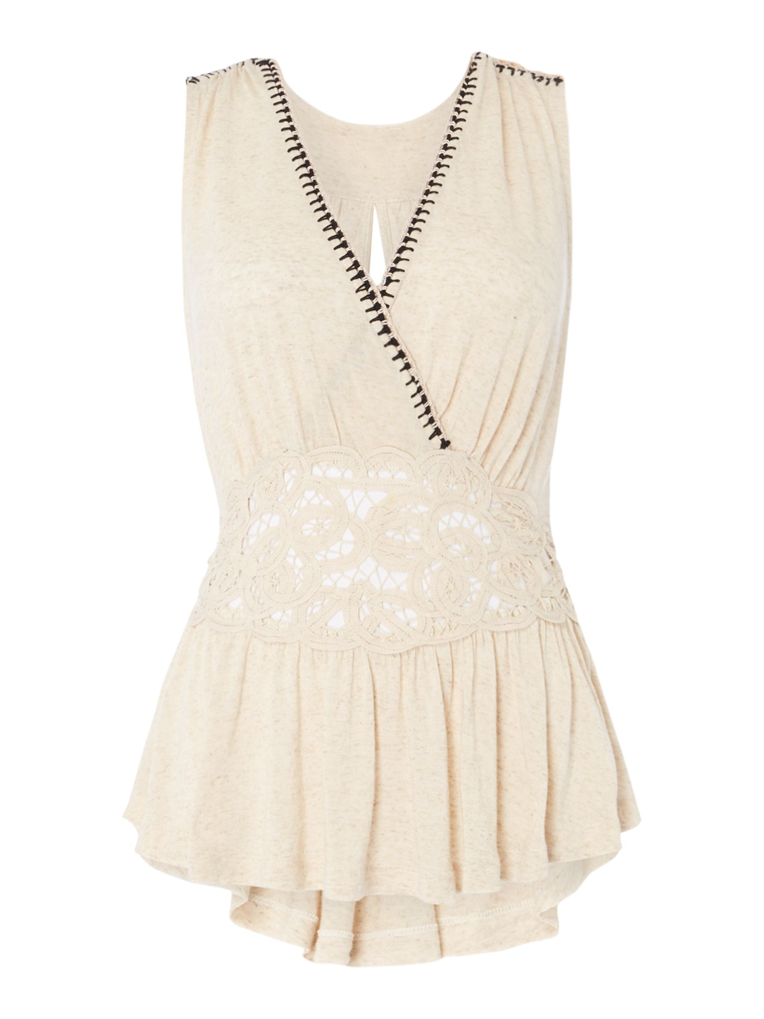 Free People Megan Peplum Top With Lace Insert, Cream