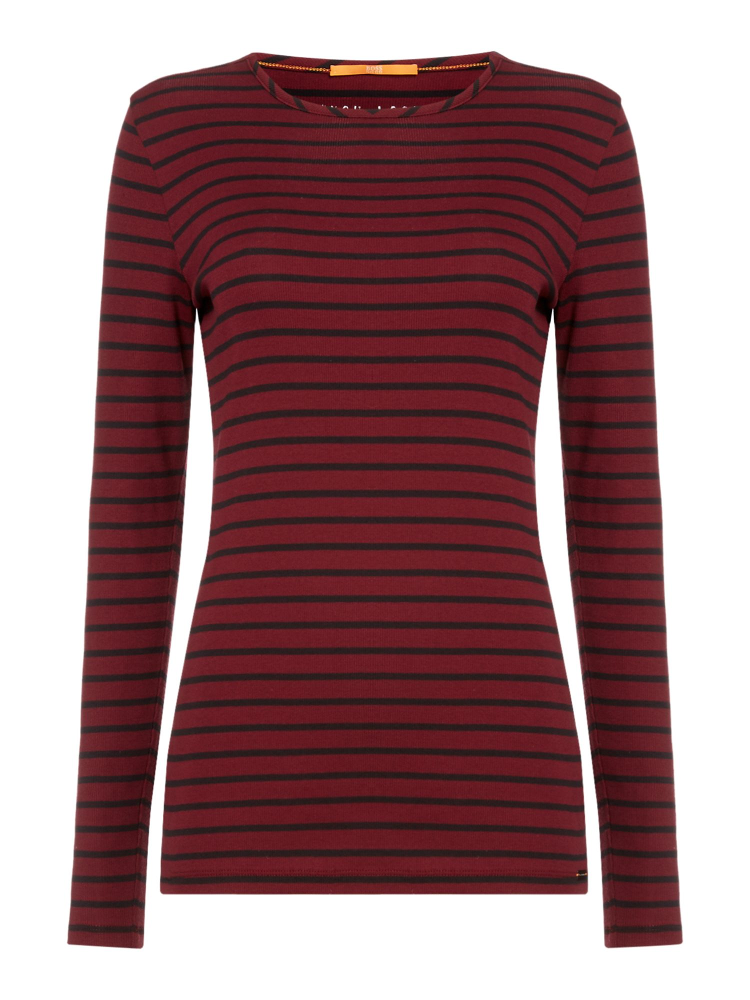 Hugo Boss Tafi long sleeve crew neck stripe jersey top, Red