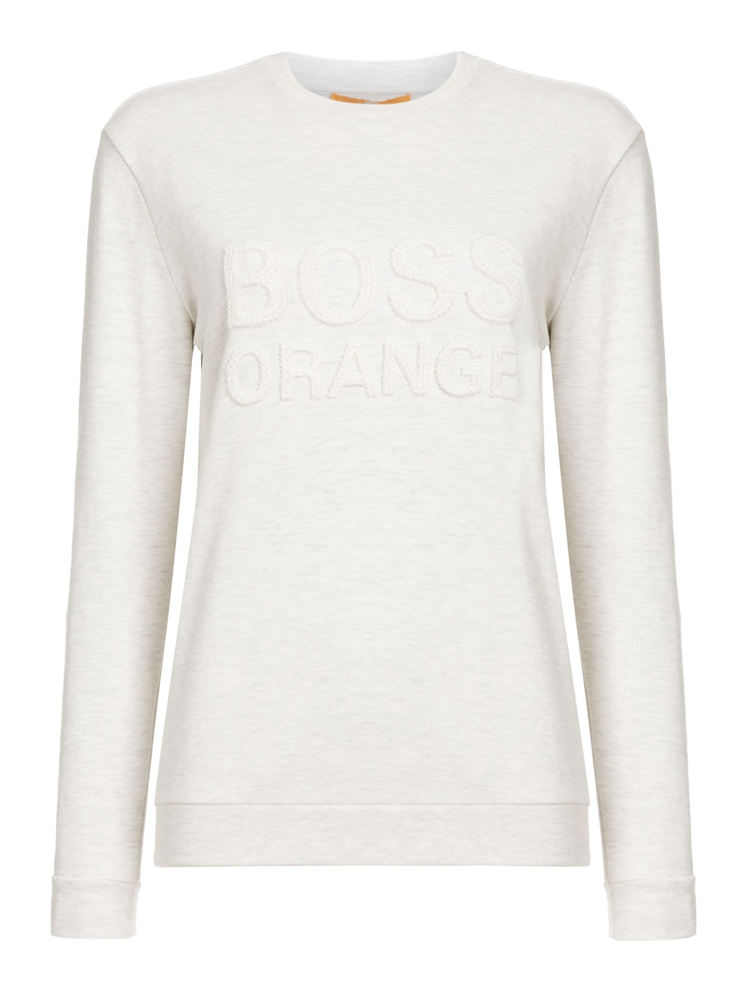 Hugo Boss Talogo long sleeve crew neck jumper, Off White