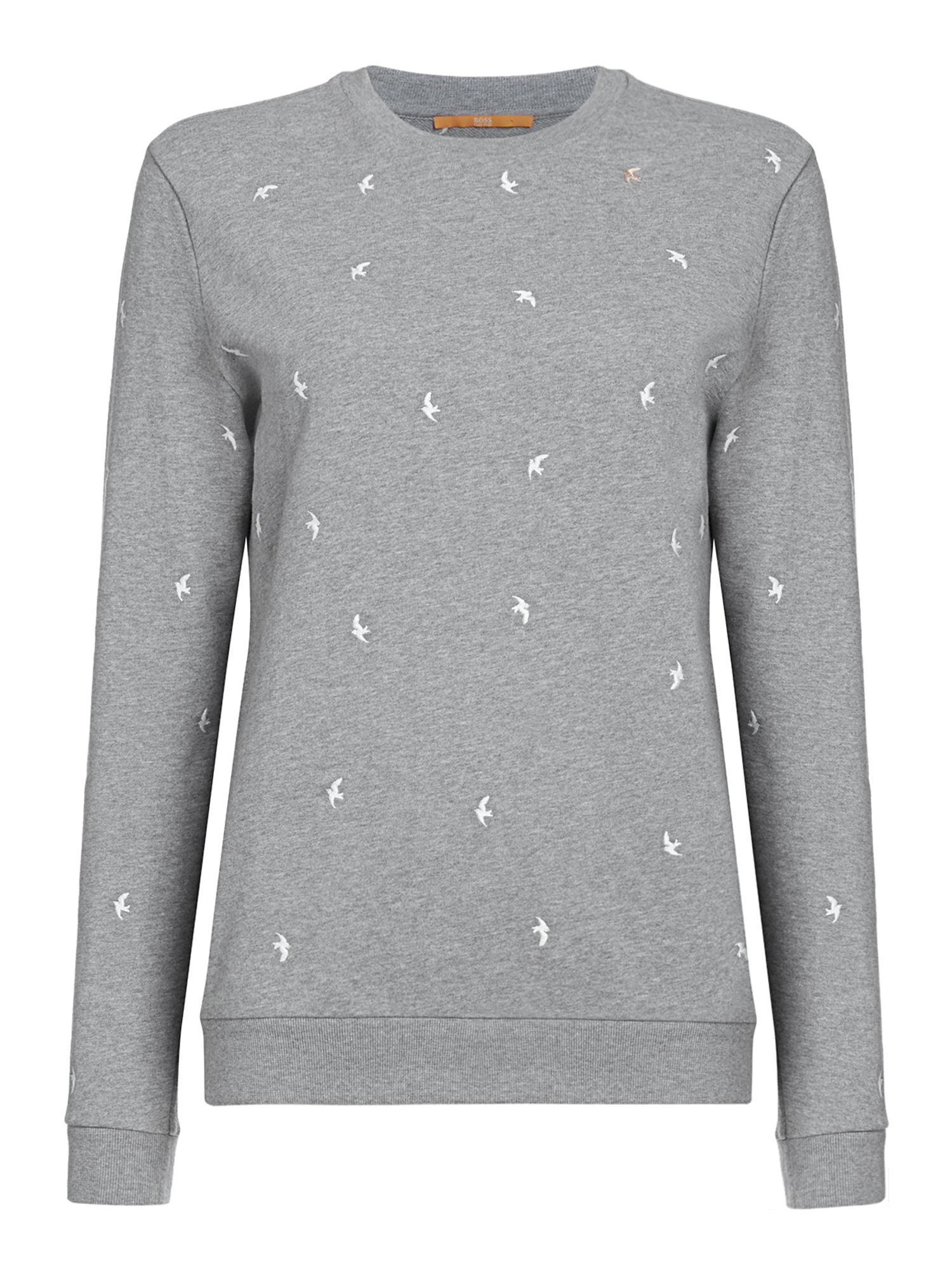 Hugo Boss Tabirdy long sleeve crew neck logo jumper, Grey