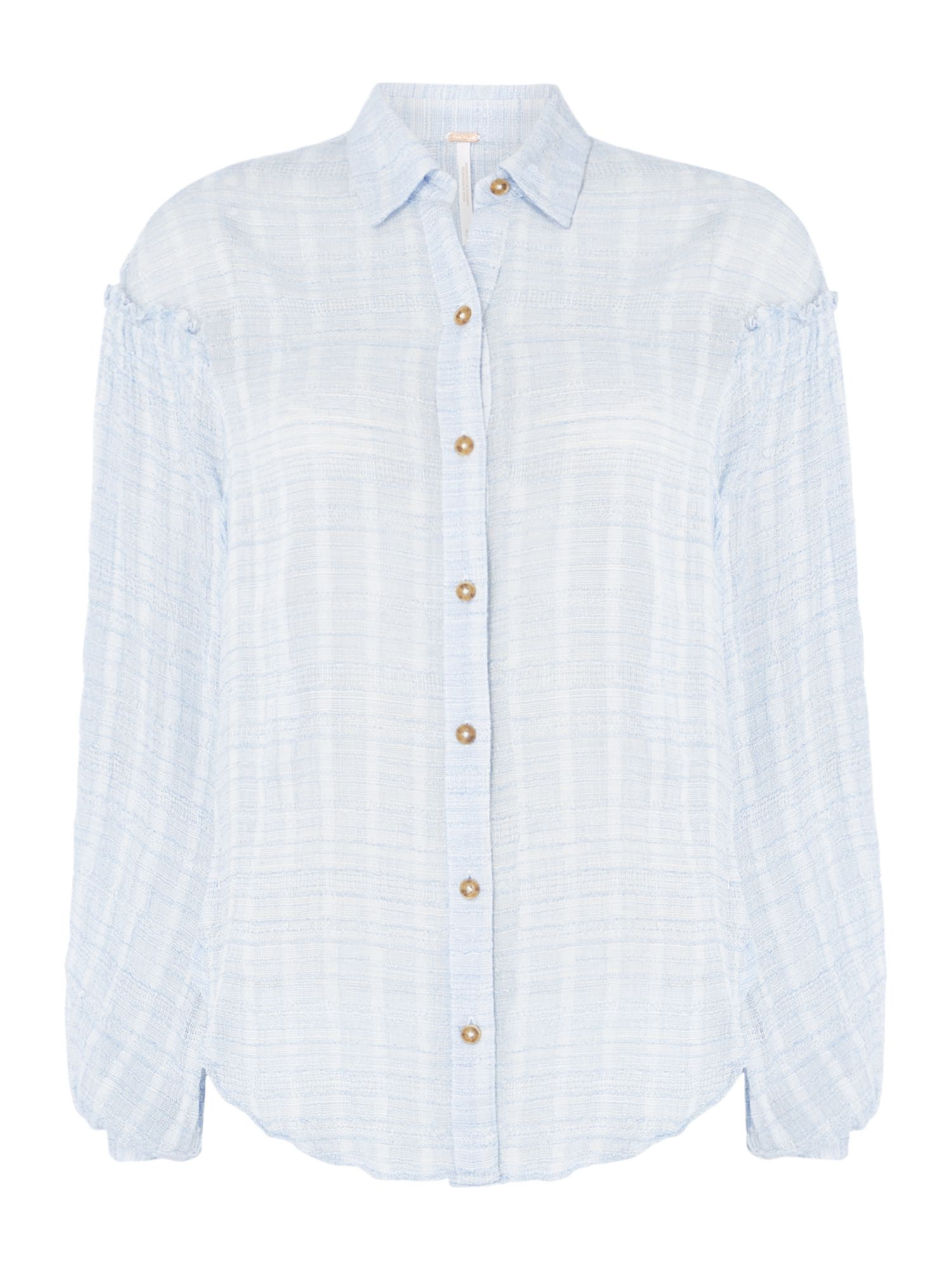 Free People Headed to the highlands Striped Shirt, Blue
