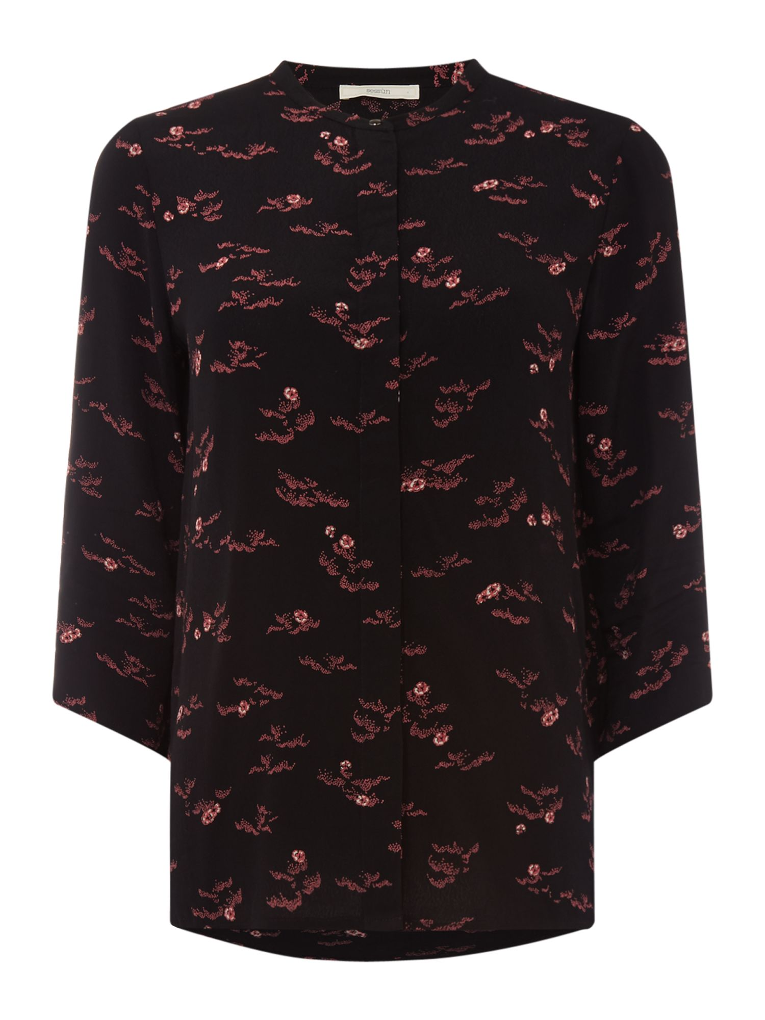 Sessun Collarless floral print blouse, Black