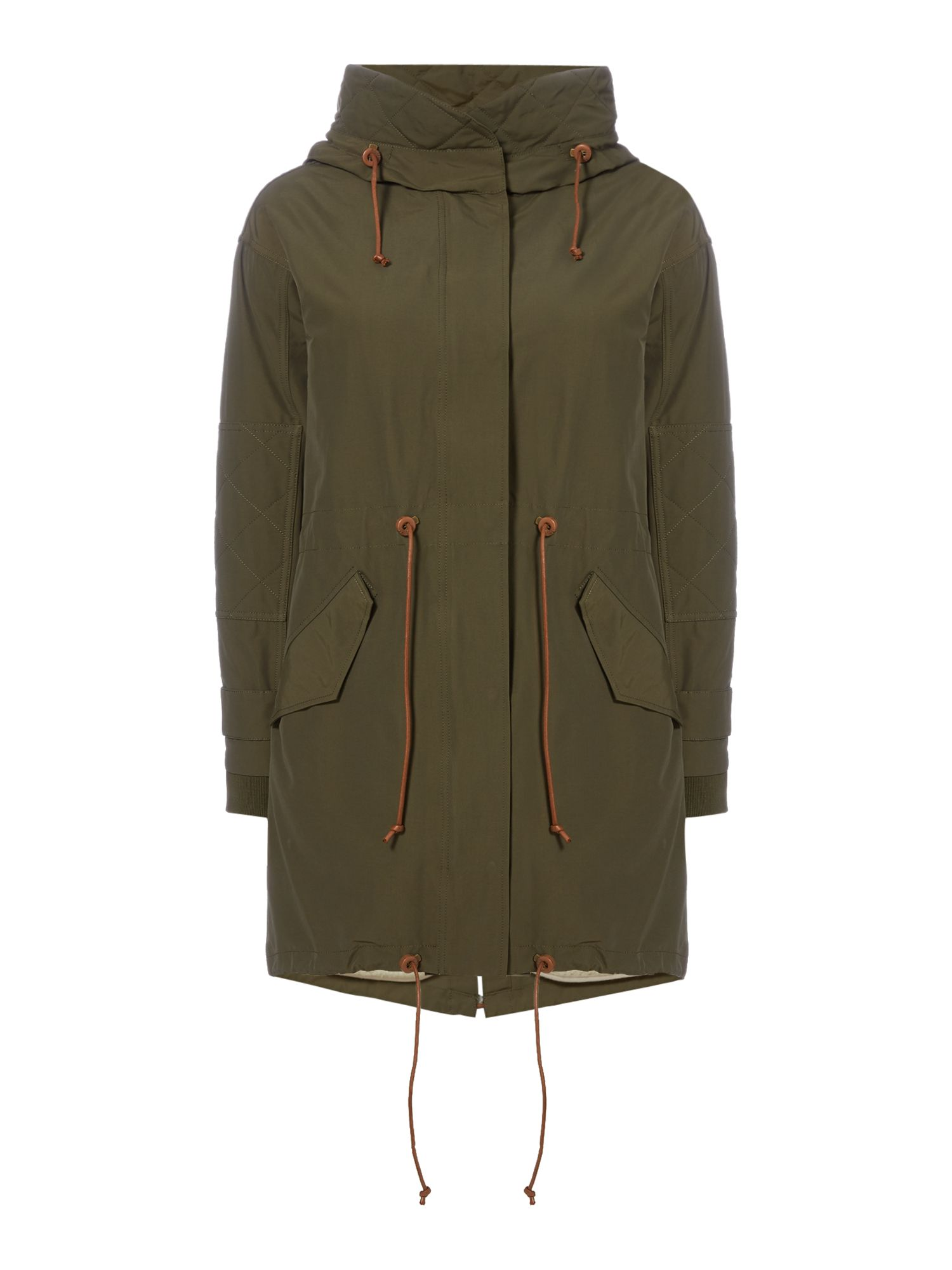 Sessun Parka with hood and zip front, Khaki