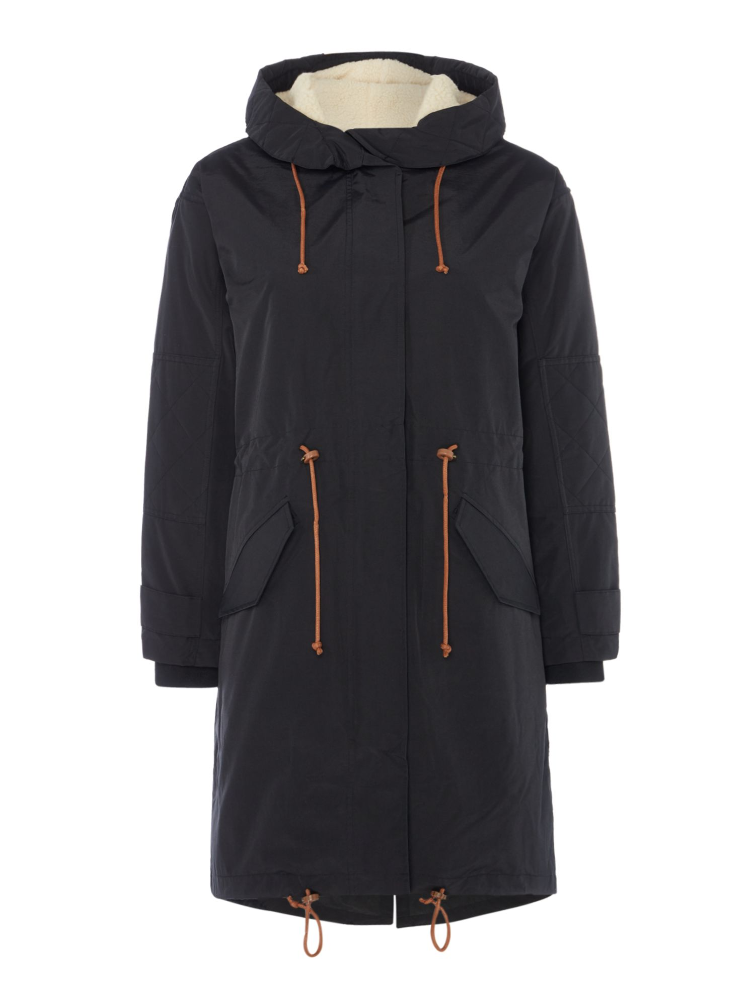 Sessun Parka with hood and zip front, Black