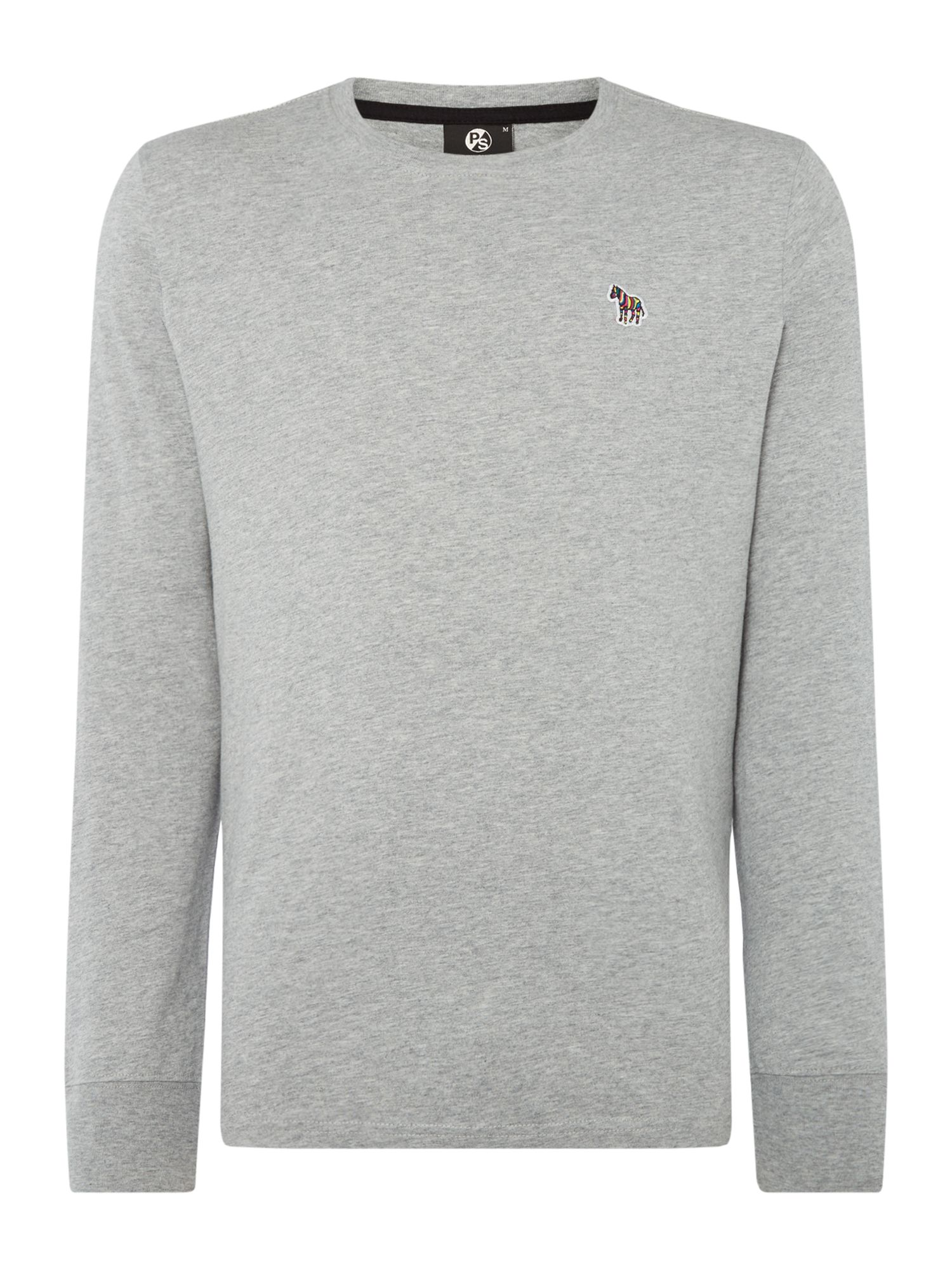 Men's PS By Paul Smith Long Sleeved Zebra Logo T-Shirt, Grey