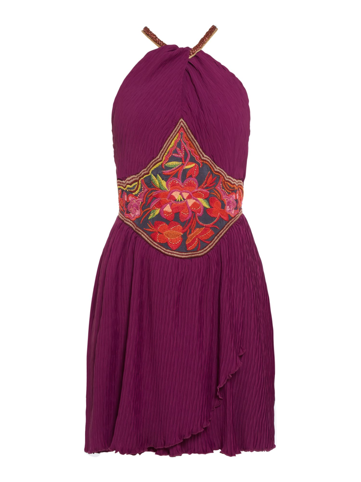 Free People Marcella Embroidered Mini Dress With Halter Neck, Purple