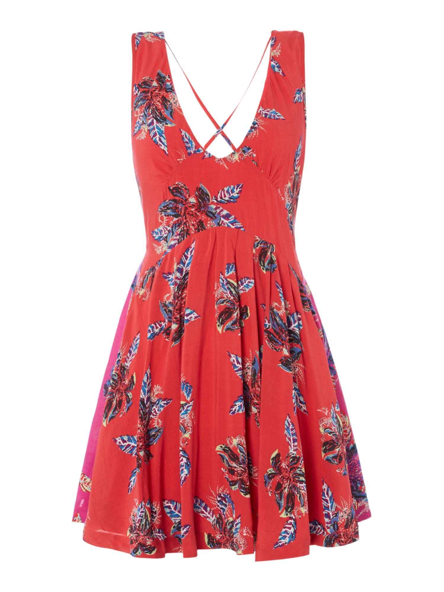 Free People Floral Print Floaty Dress With Contrast Panel, Red
