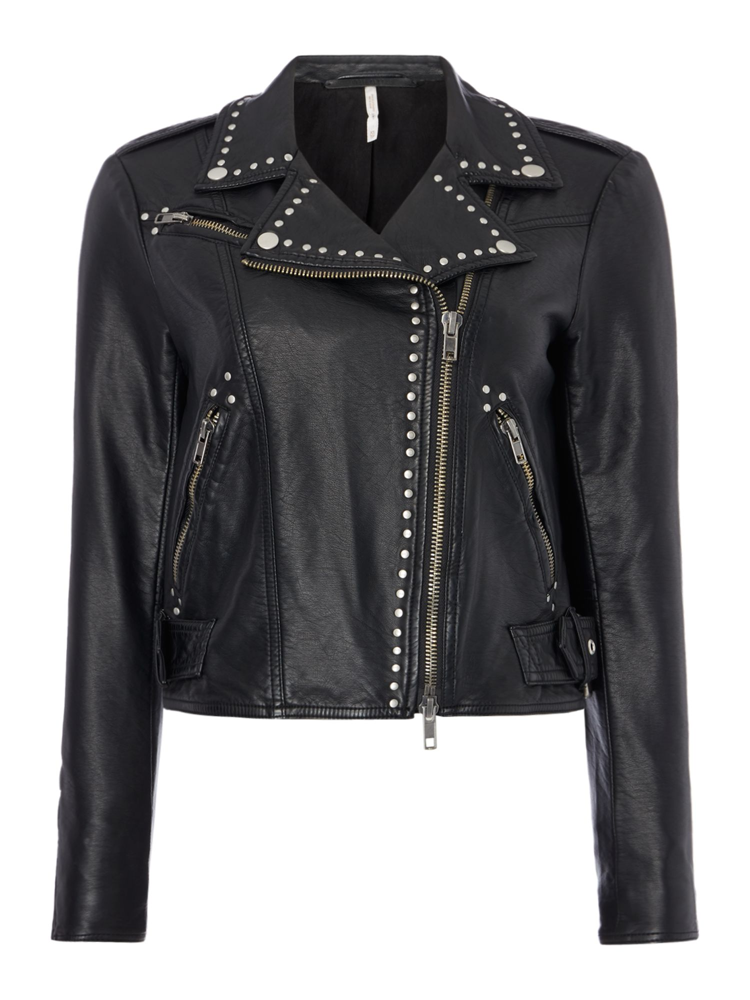 Free People Vegan Leather Jacket With Studded Detail, Black