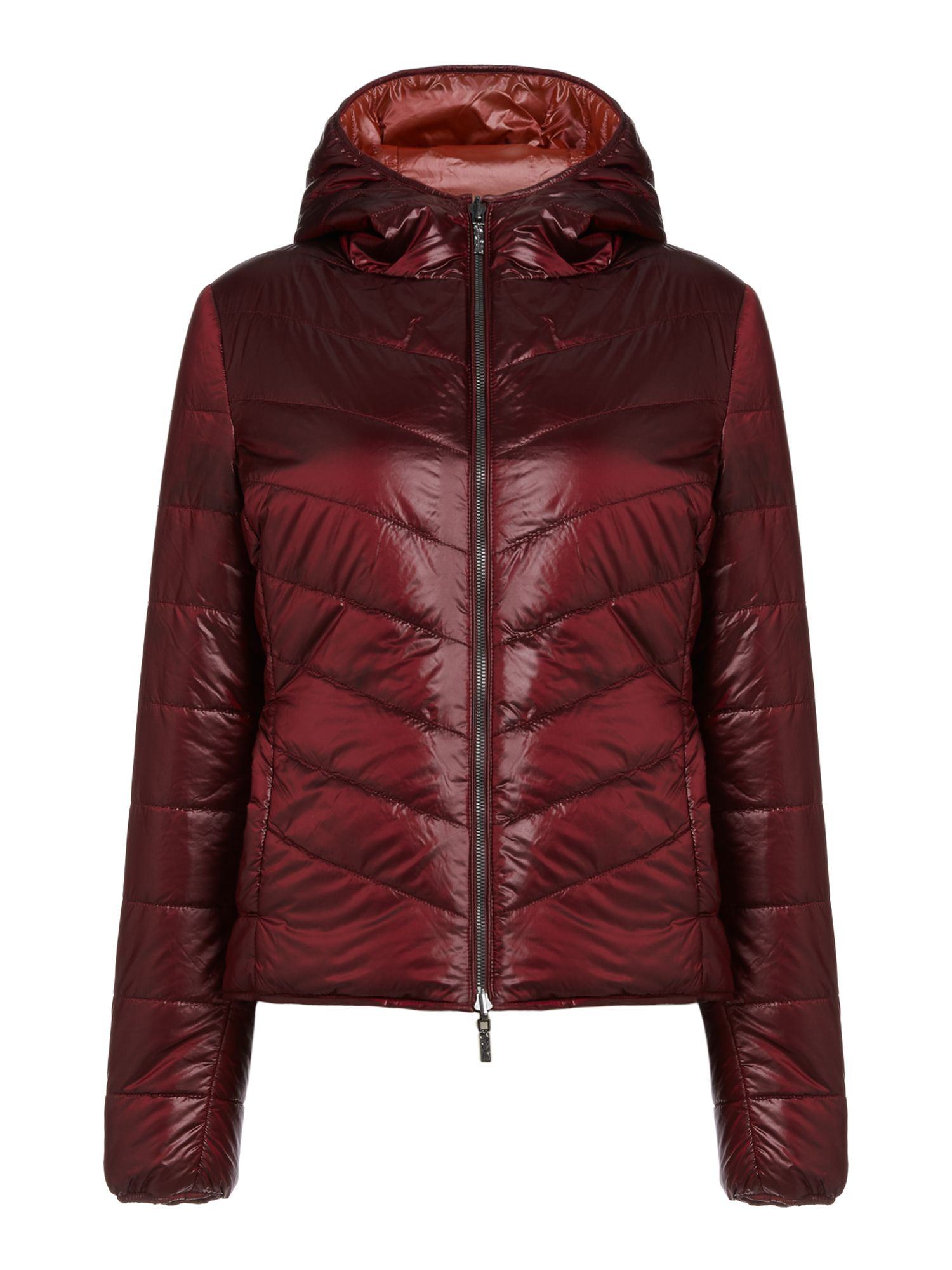 Hugo Boss Otarra long sleeve hooded padded  jacket, Dark Red