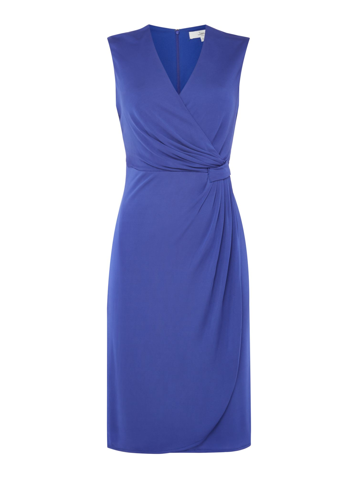 ISSA Charlotte Sleeveless Wrap Dress, Blue