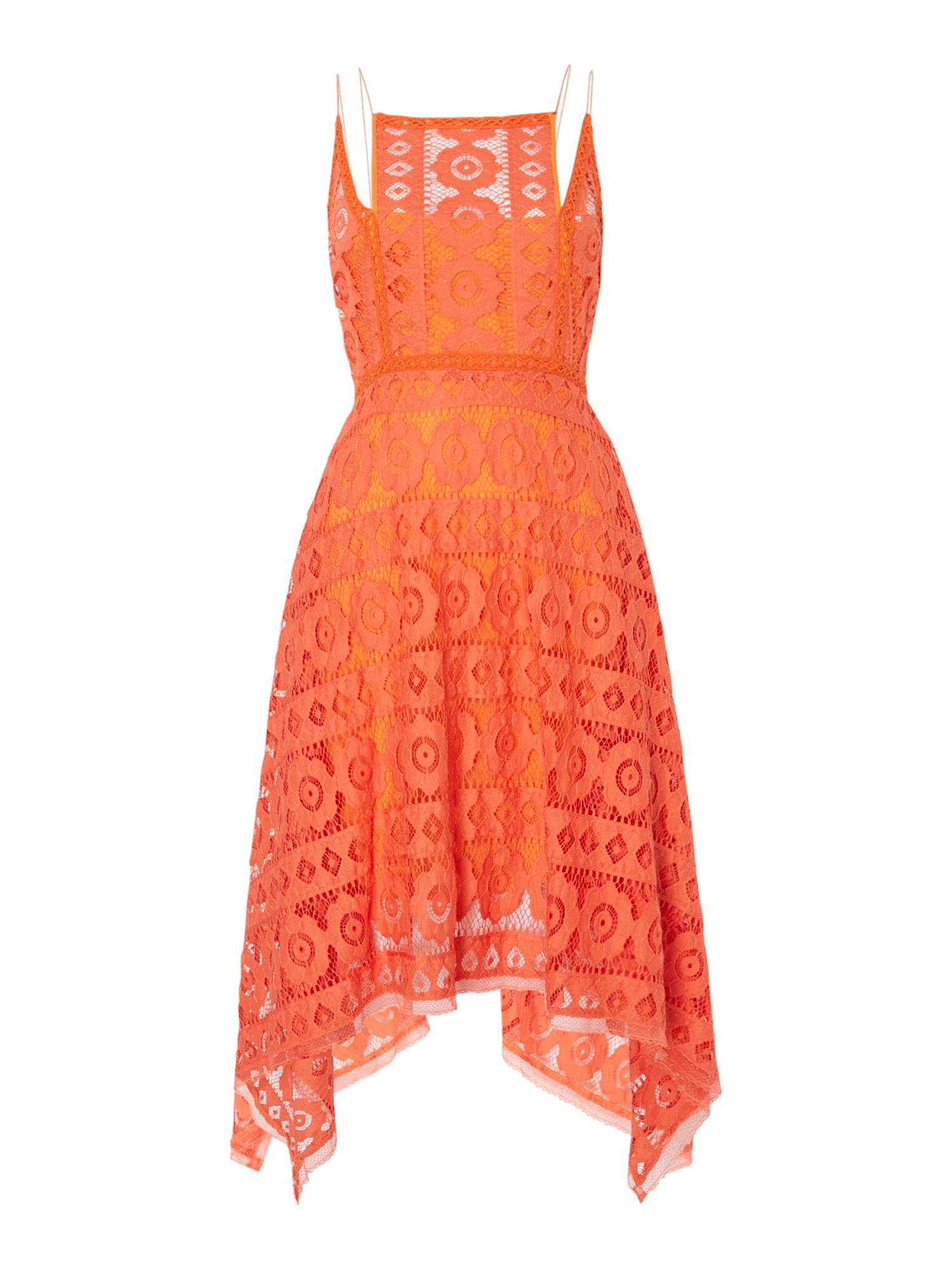 Free People Just Like Honey Lace Dress With Hankerchief Hem, Orange