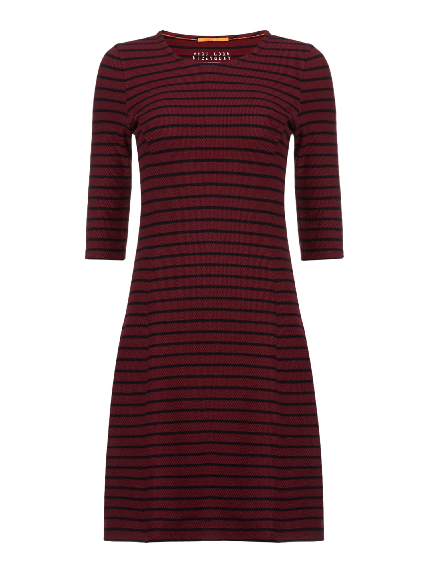 Hugo Boss Dressie 3/4 sleeve crew neck jersey dress, Red
