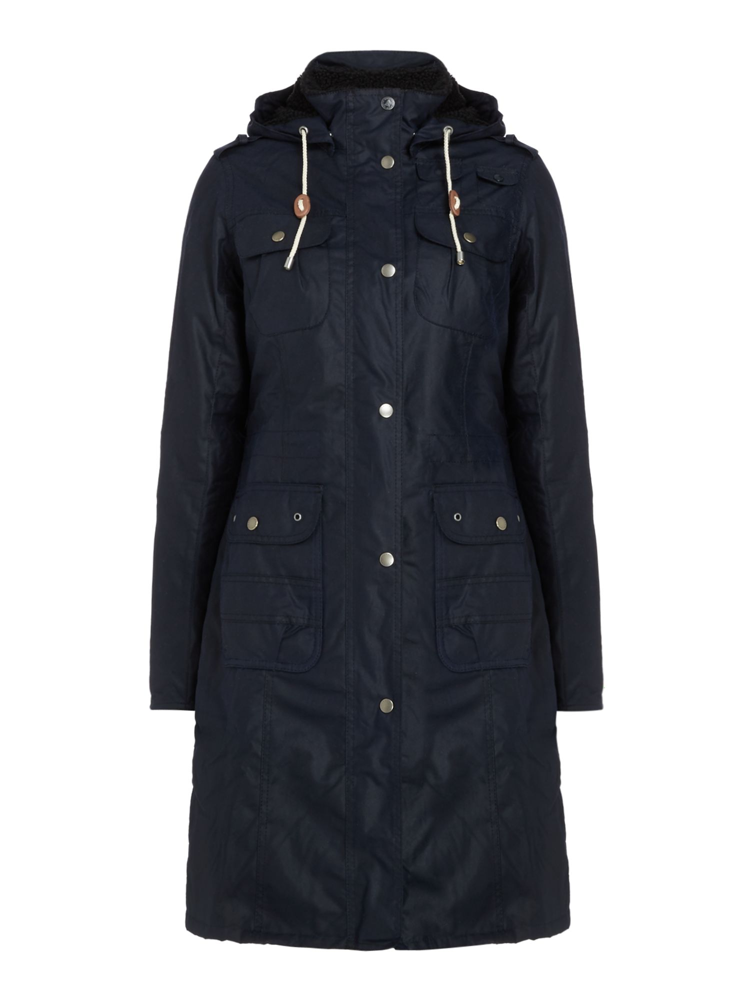 Barbour Winterton Long Wax Jacket With Hood, Blue