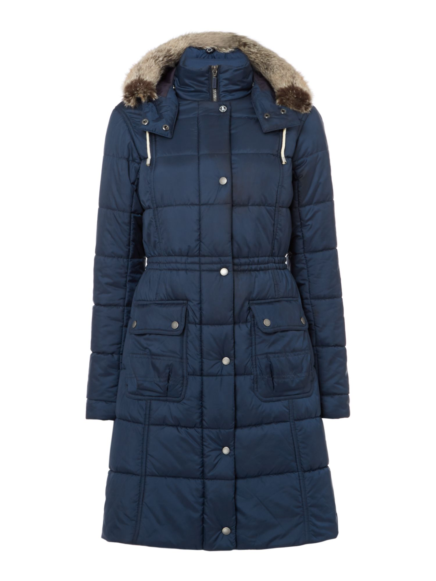 Barbour Long Quilted Coat With Fur Trim Hood, French Blue