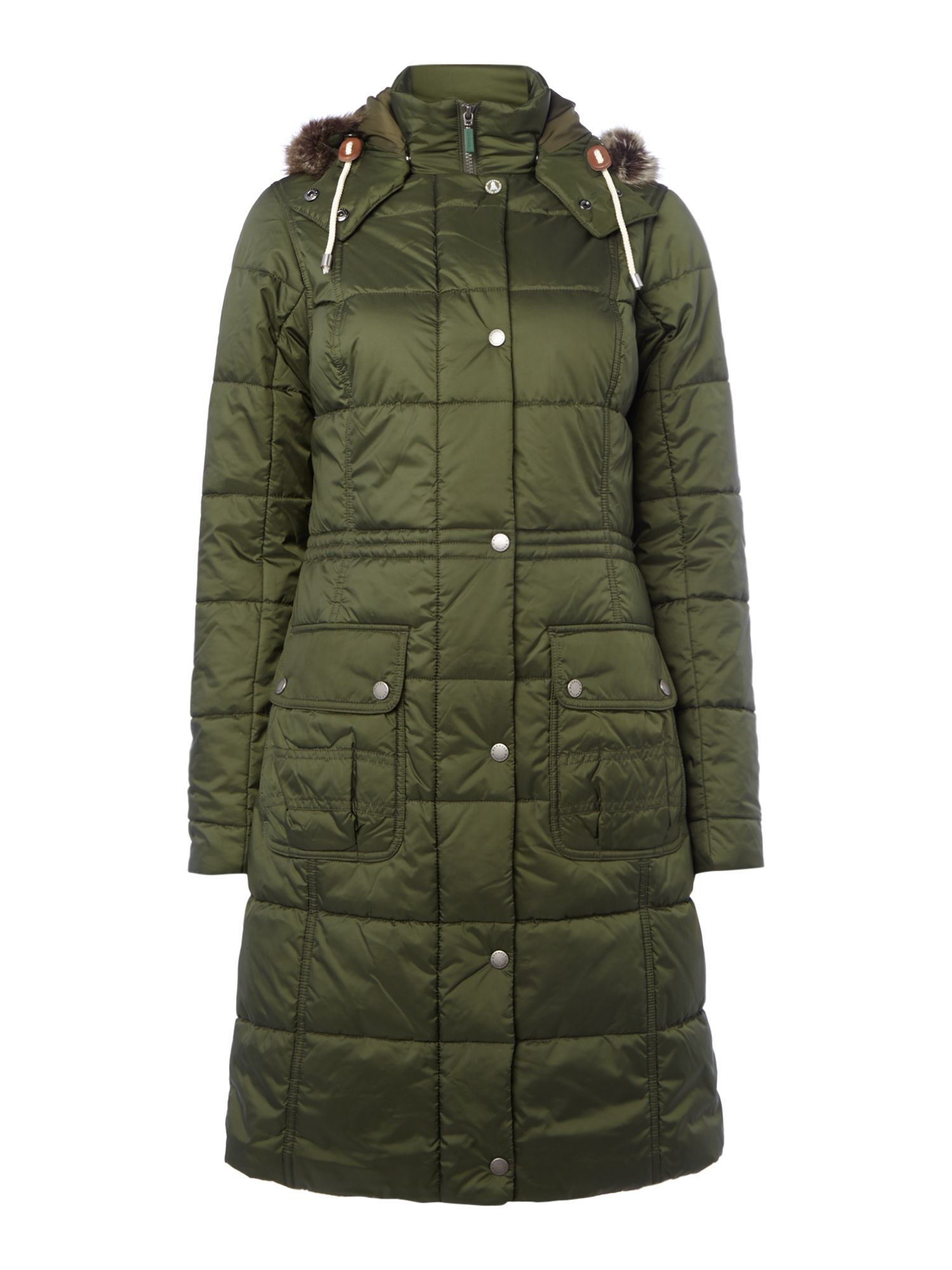 Barbour Long Quilted Coat With Fur Trim Hood, Green