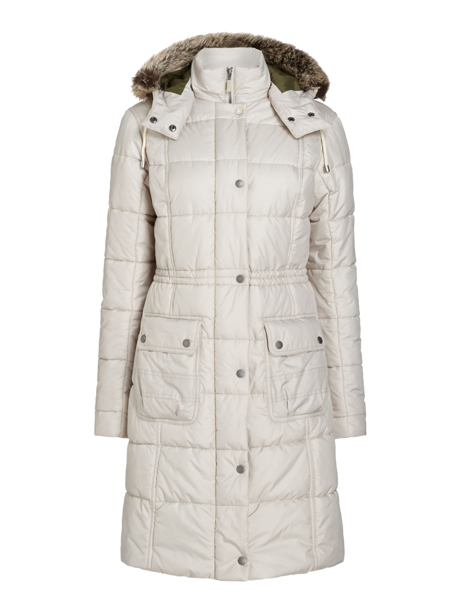 Barbour Long Quilted Coat With Fur Trim Hood, Off White