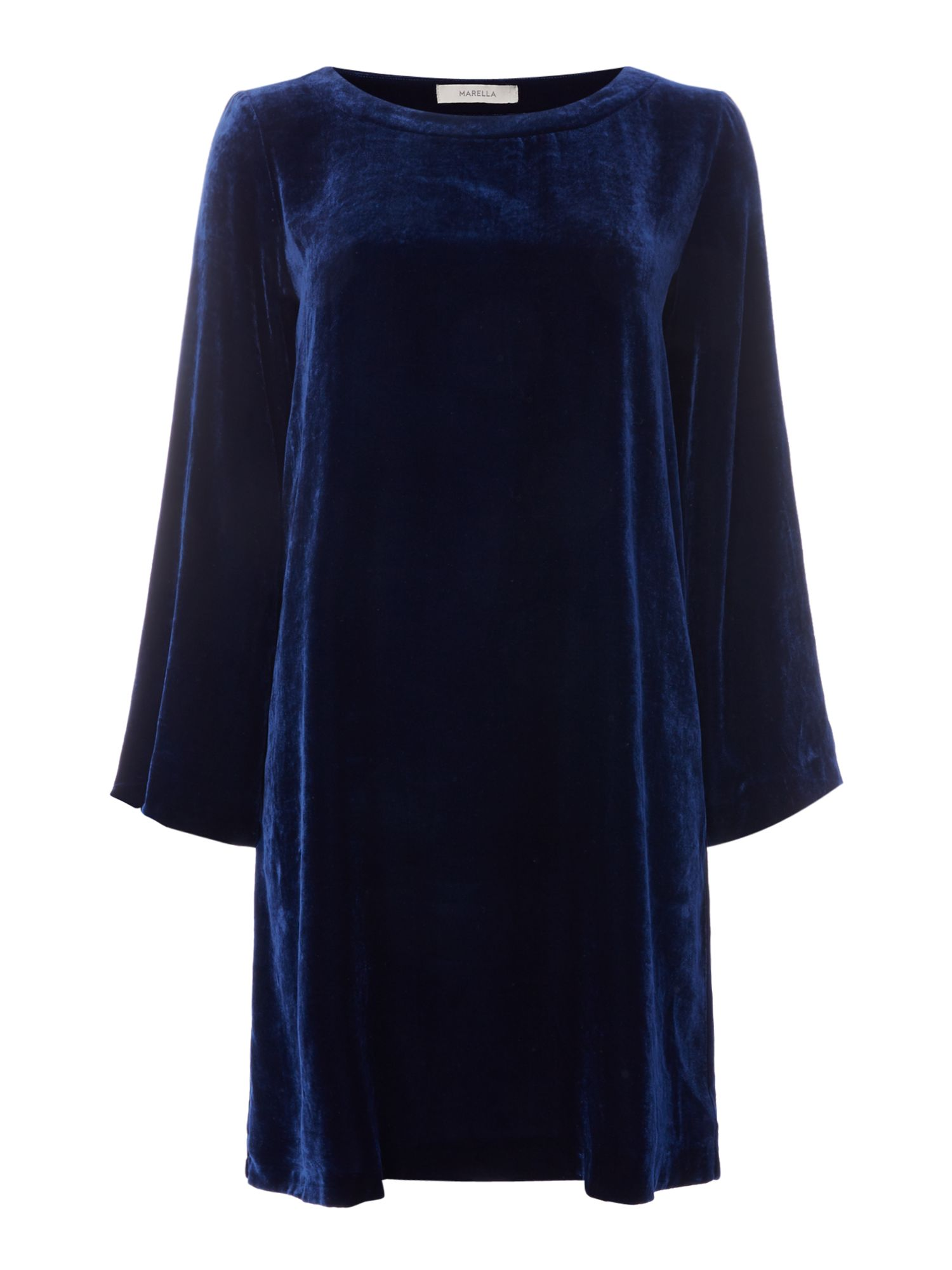 Marella Kate longsleeve velvet dress, Dark Blue
