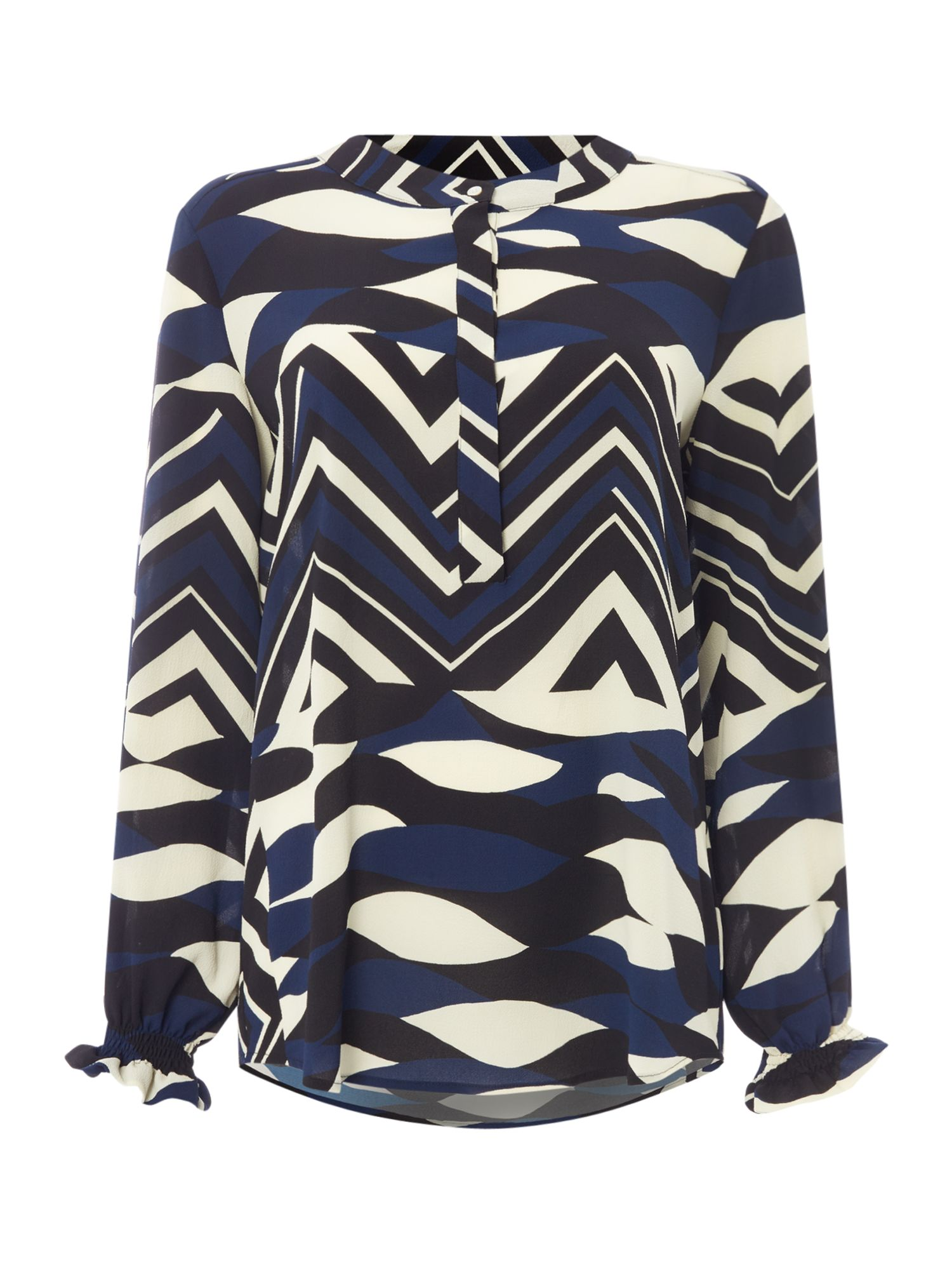 Marella Fuxia abstract printed blouse, Black