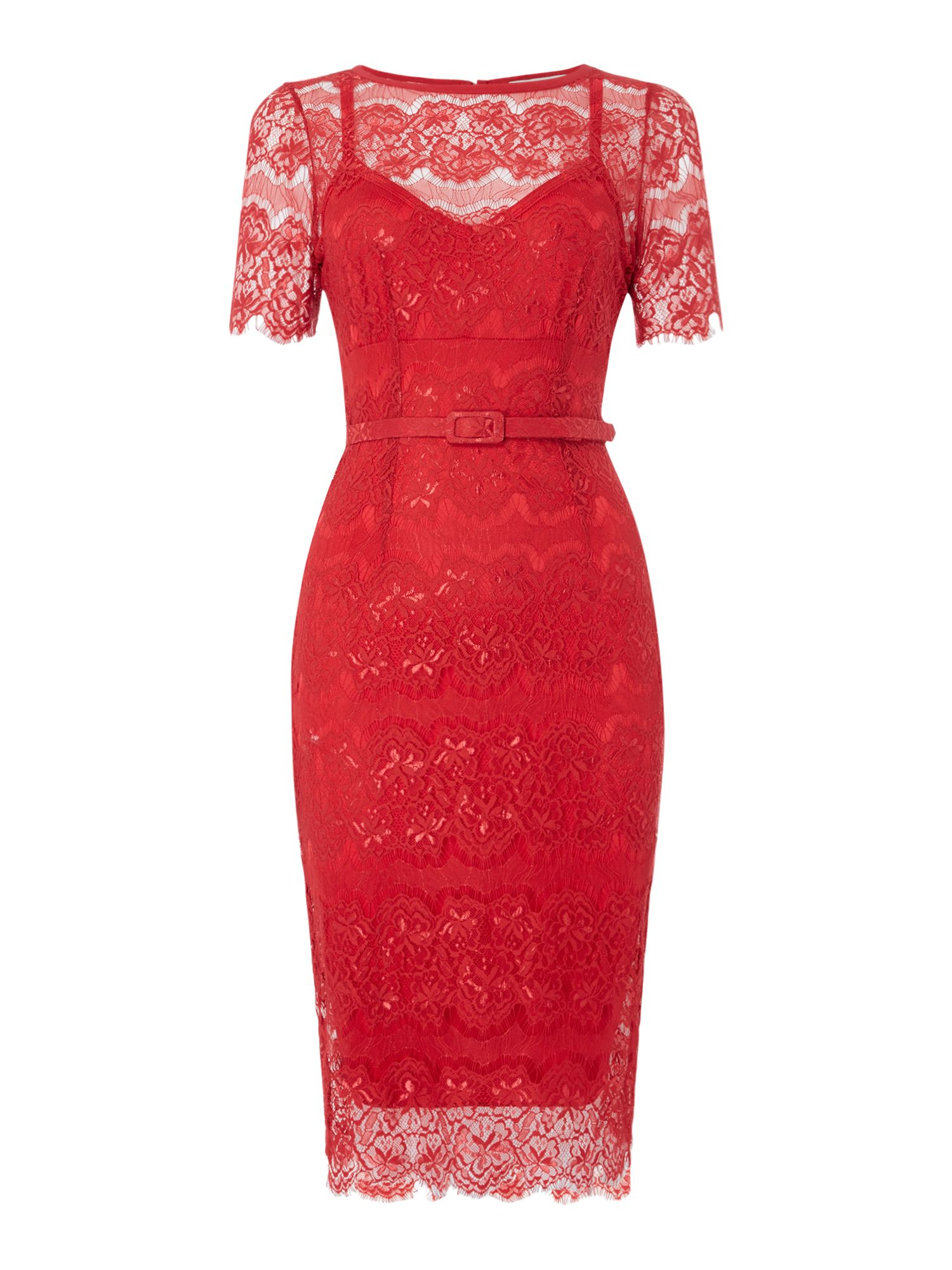Body Frock Cap Sleeve lace midi bodycon, Red