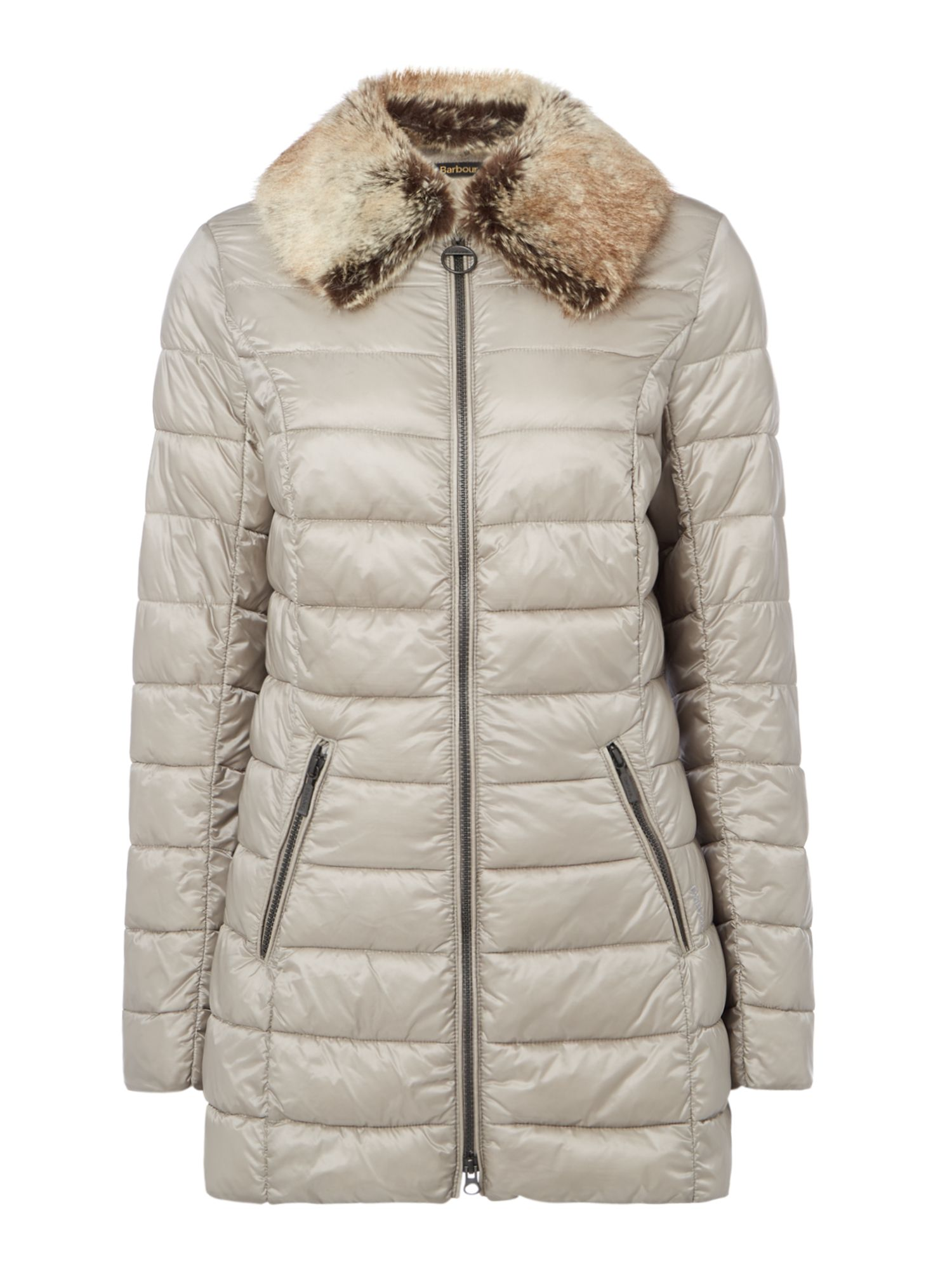 Barbour Munro Quilted Jacket With Faux Fur Collar, Taupe