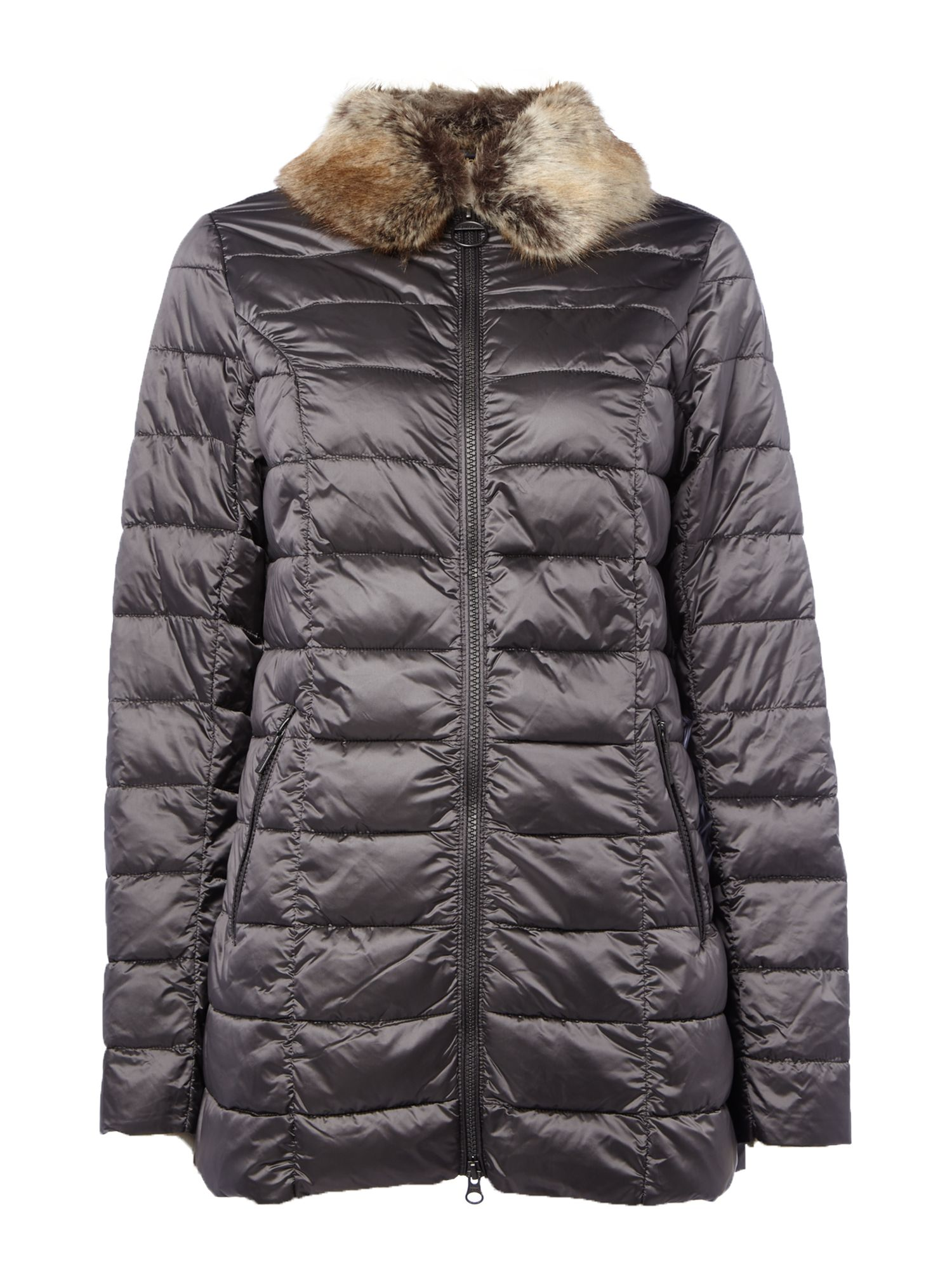 Barbour Munro Quilted Jacket With Faux Fur Collar, Dark Grey
